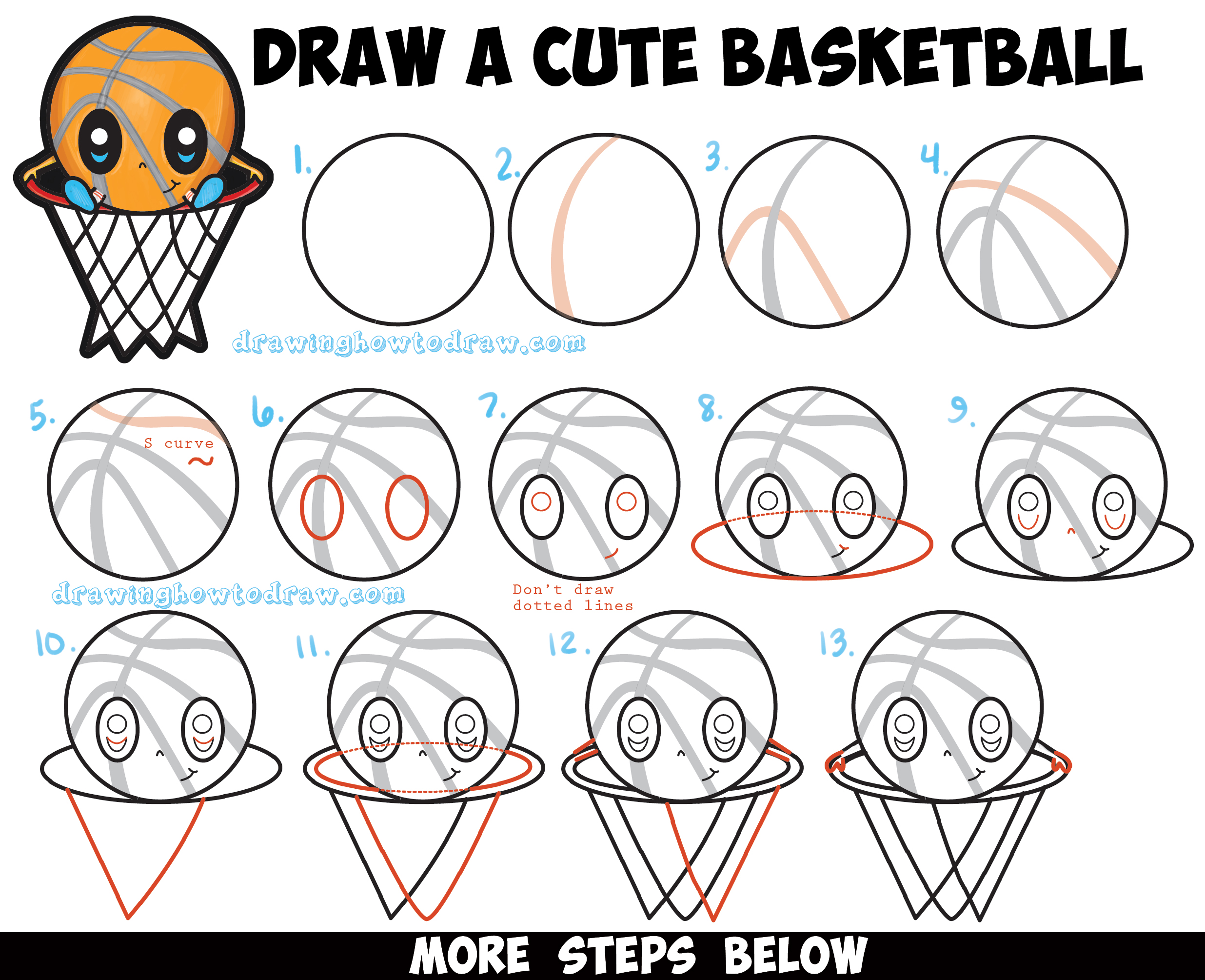 How to Draw a Cartoon Basketball Guy (Cute Kawaii Chibi Style) in Easy Step by Step Drawing Tutorial for Kids