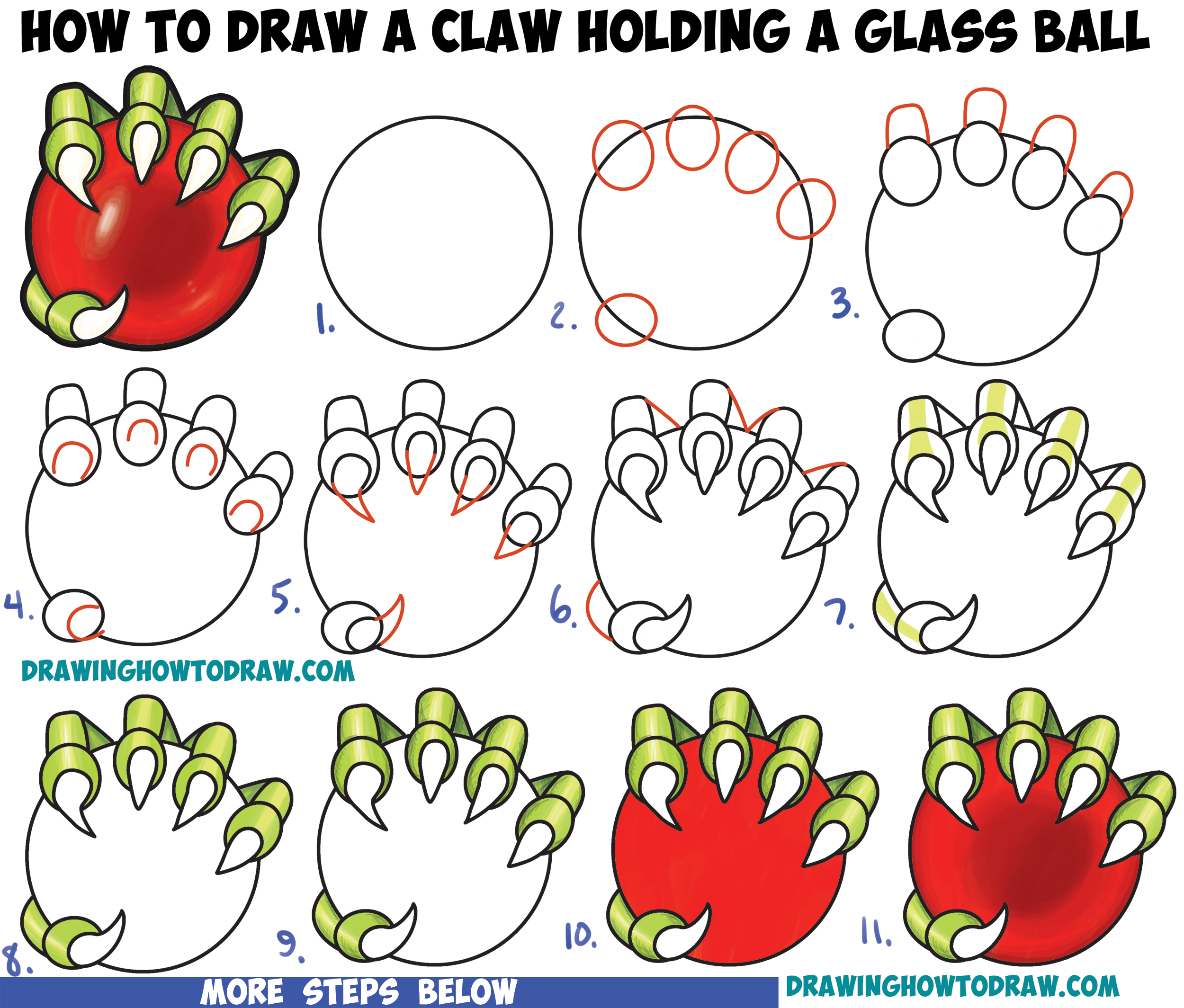 How to draw a dragon 39 s claw holding a glass ball easy step for How to make doodle art