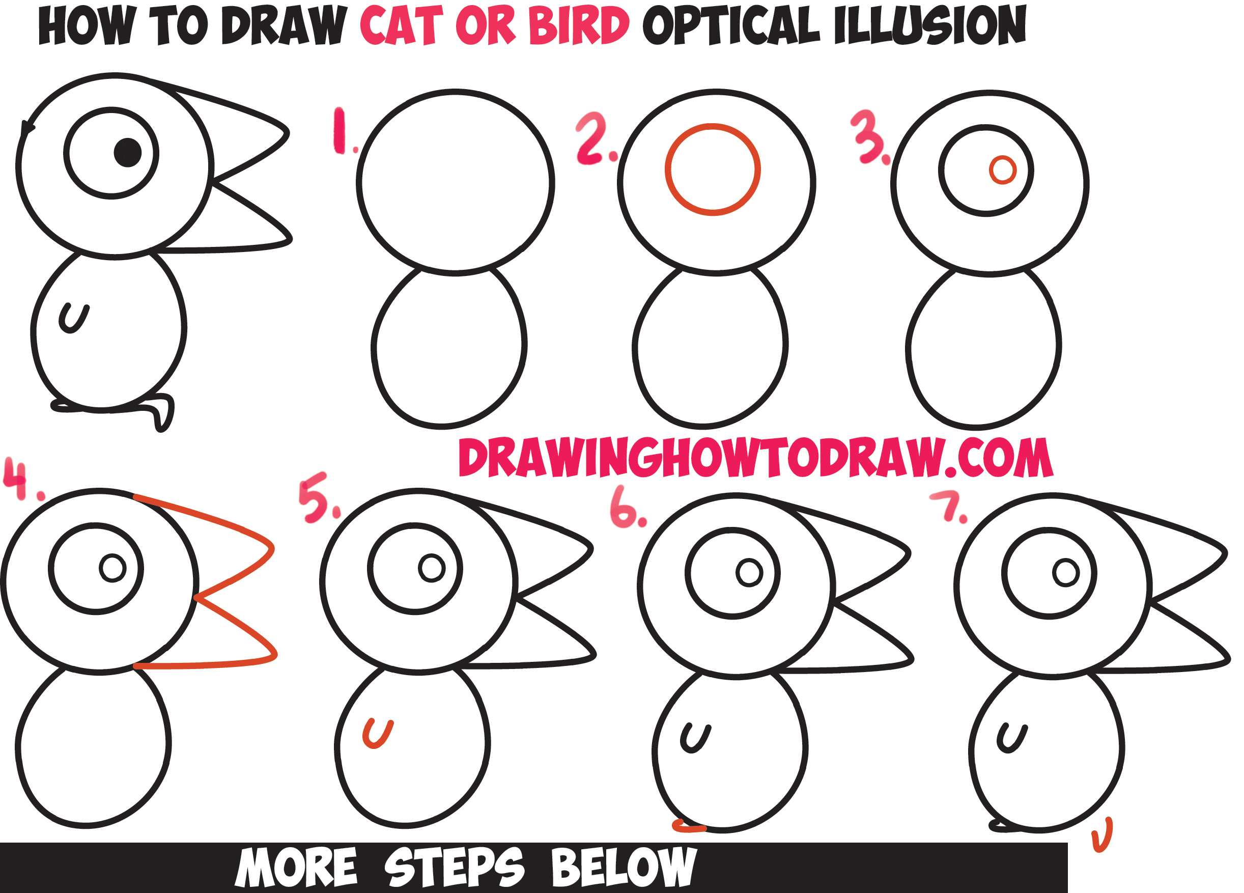 "Optical Illusions for Kids - How to Draw the ""Is it a Cat or Is it a Bird"" Optical Illusion with Easy Step by Step Drawing Tutorial"