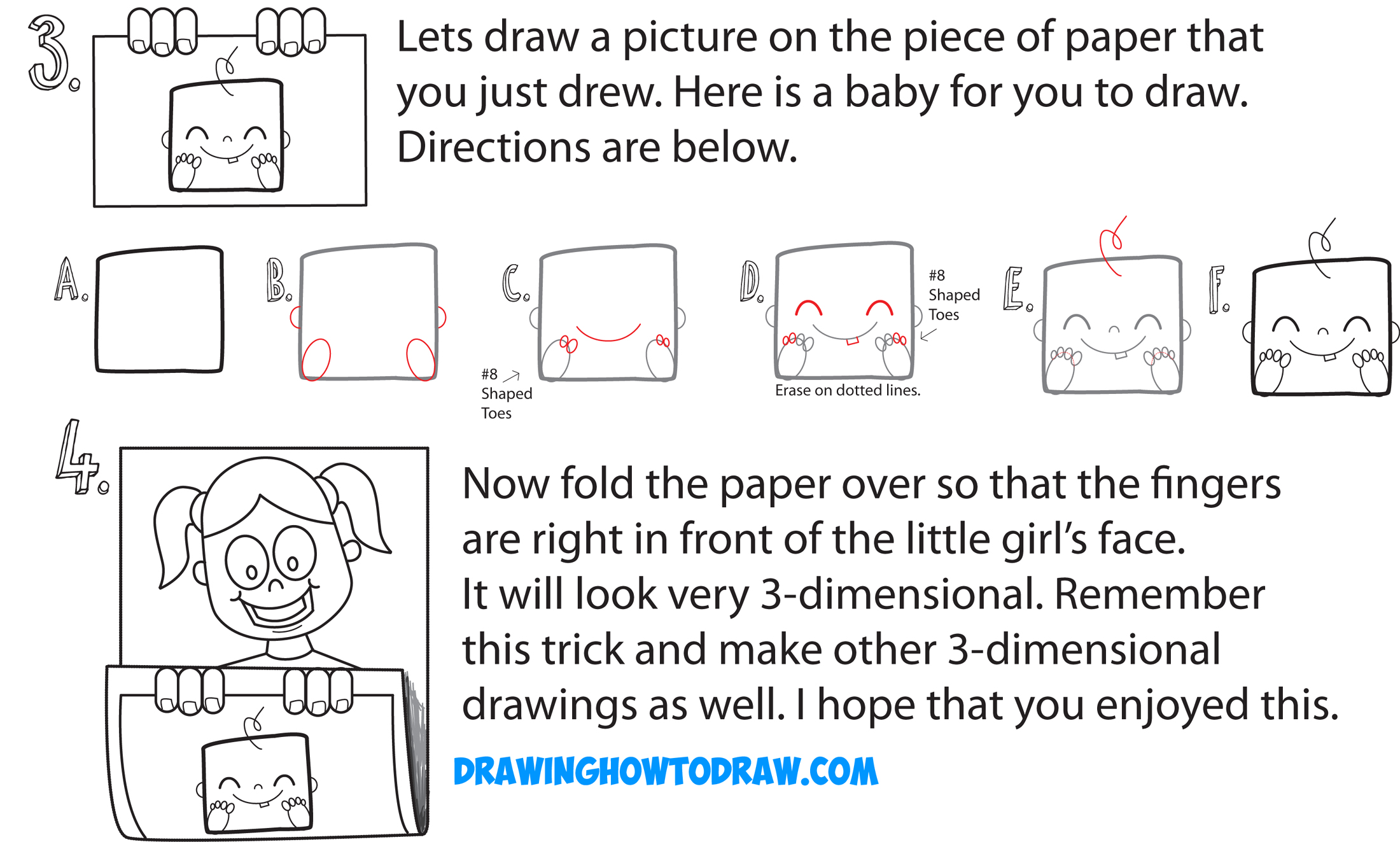 Learn How to Draw Cartoon Girl Holding Up Art on Piece of Paper - 3D Paper Folded Over Trick - Simple Steps Drawing Lesson for Children