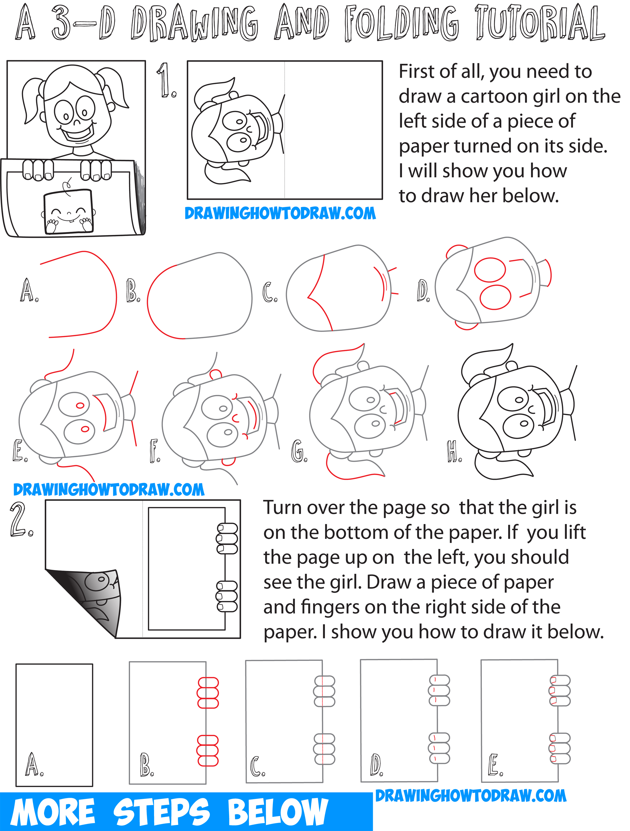 how to draw cartoon girl holding up art on piece of paper 3d paper folded