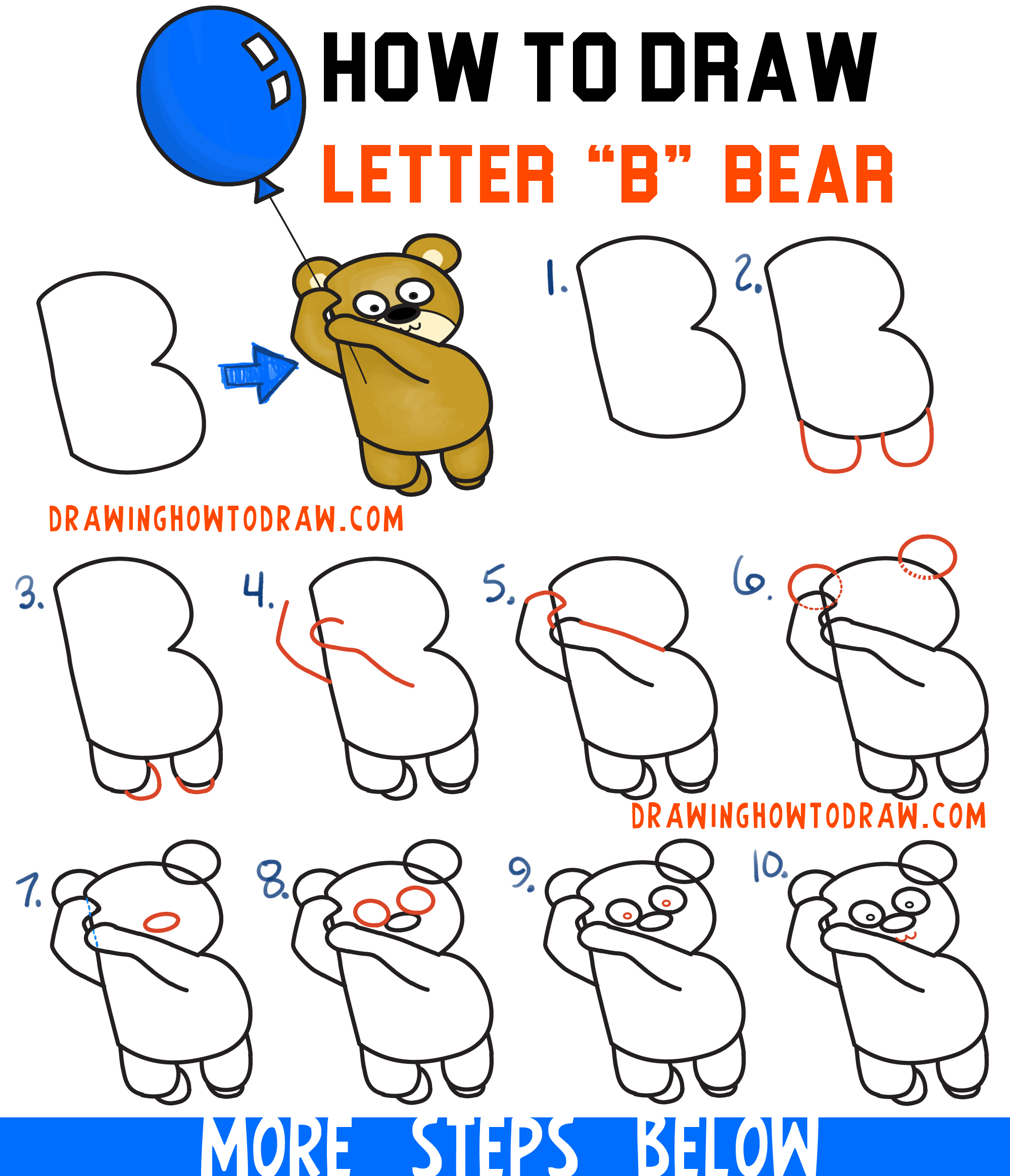 How to draw a cartoon bear holding a balloon floating up for How to make cartoon drawings step by step