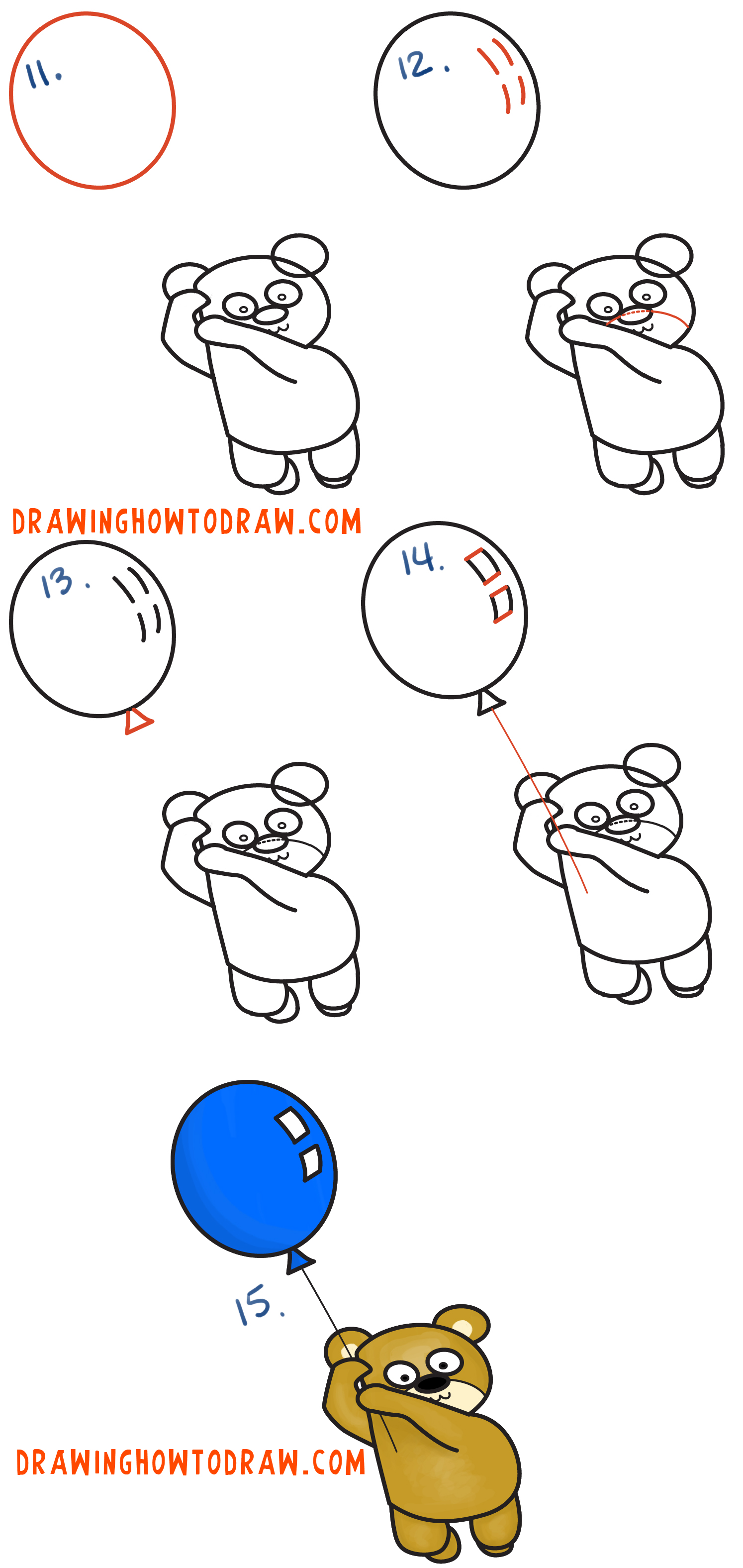 Learn How to Draw a Cartoon Bear Holding a Balloon Floating Up to the Sky from Letter B Simple Steps Drawing Lesson for Children