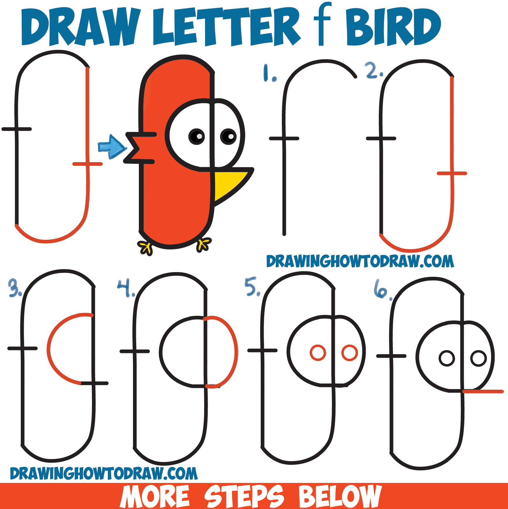 How to Draw Cute Cartoon Bird from Lowercase Letter 'f' Shapes Easy Step by Step Drawing Tutorial for Kids