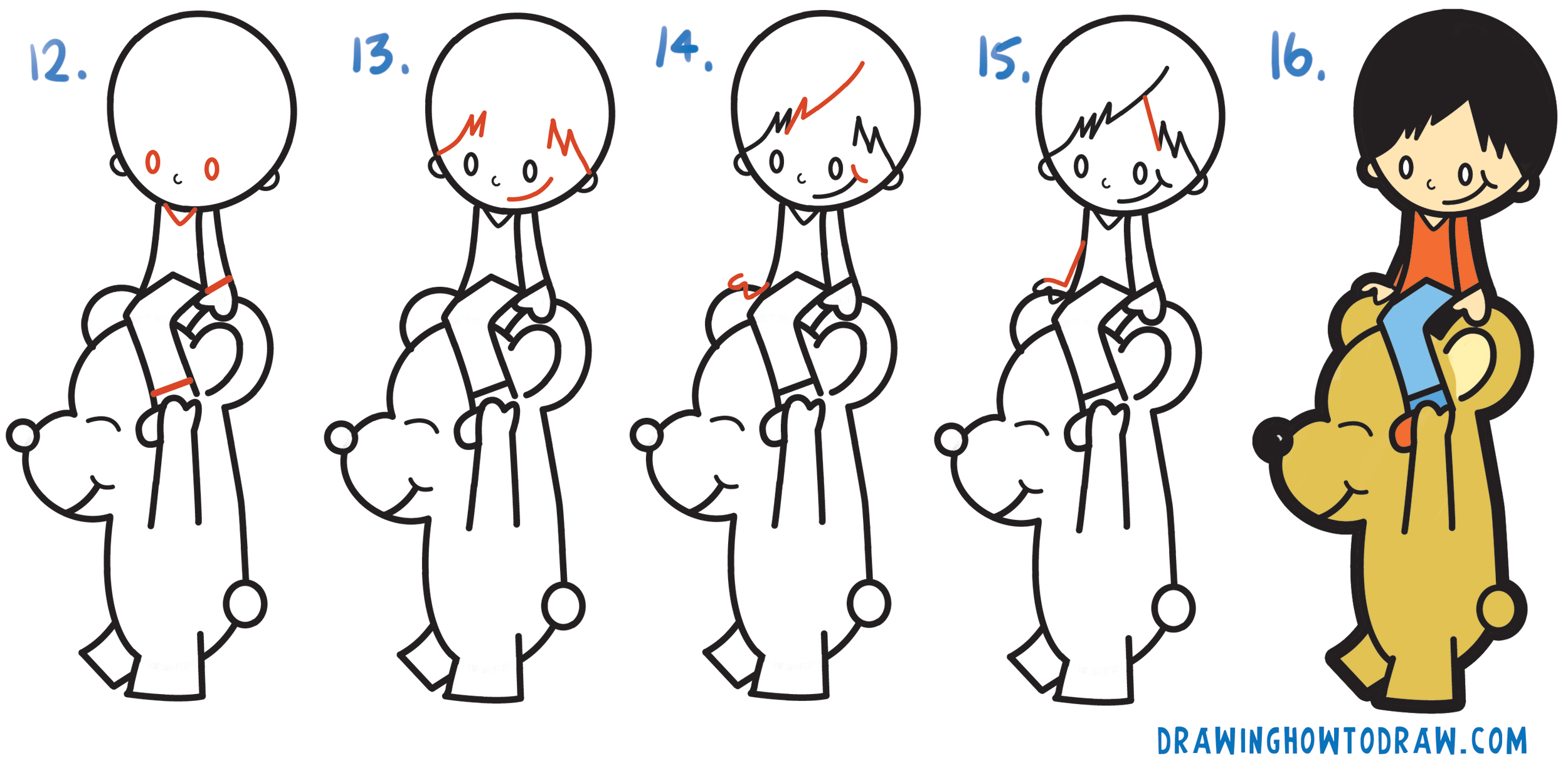 Learn How to Draw a Cartoon Boy Riding a Cartoon Bear from a Question Mark Simple Steps Drawing Lesson for Children and Beginners