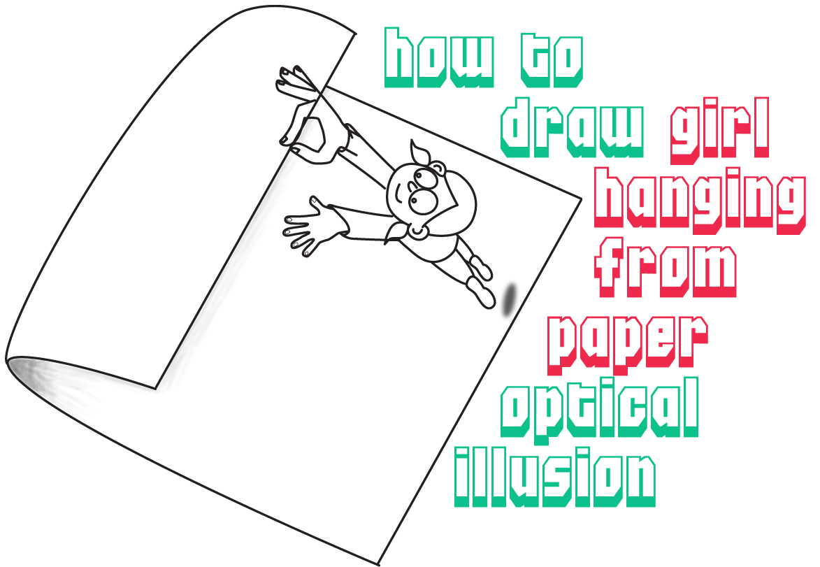 How to Draw a Cartoon Character Hanging Onto Edge of Curled Paper Optical Illusion - Easy Step by Step Drawing Tutorial for Kids
