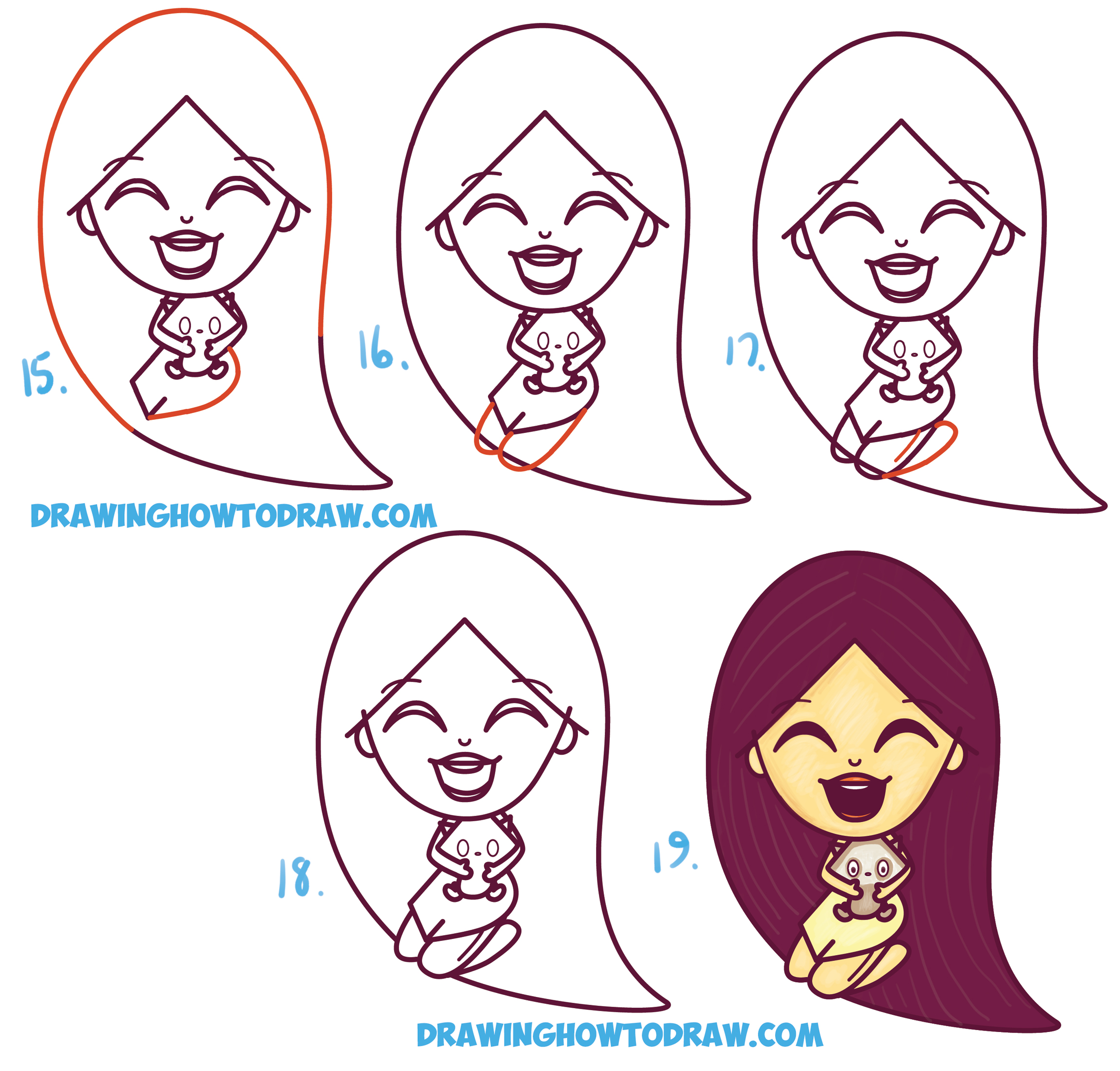 Learn How to Draw a Cute Kawaii / Chibi Disney's Pocahontas and Meeko Simple Steps Drawing Lesson for Children and Beginners