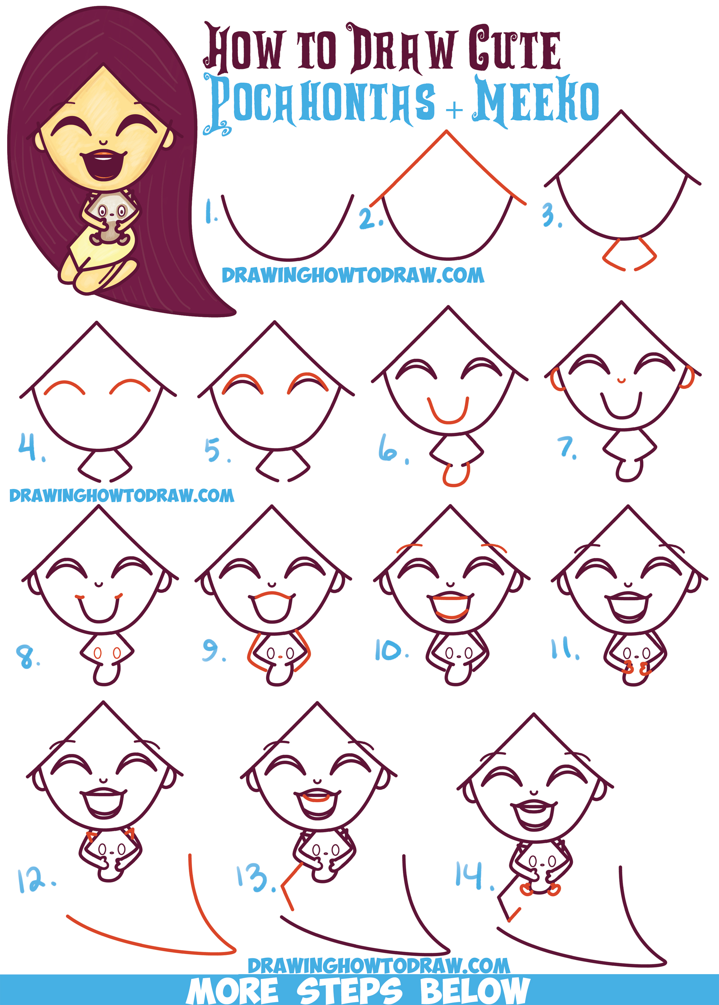 How to draw a cute kawaii chibi pocahontas and meeko for Drawing ideas for beginners step by step