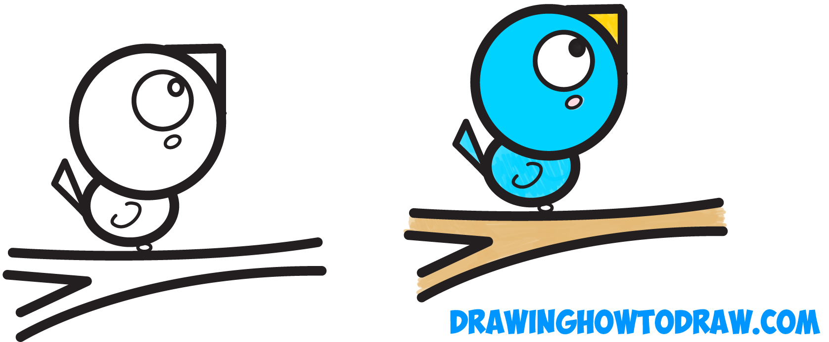 Learn How to Draw a Cute Cartoon Bird on a Branch with Numbers Simple Steps Drawing Lesson for Children