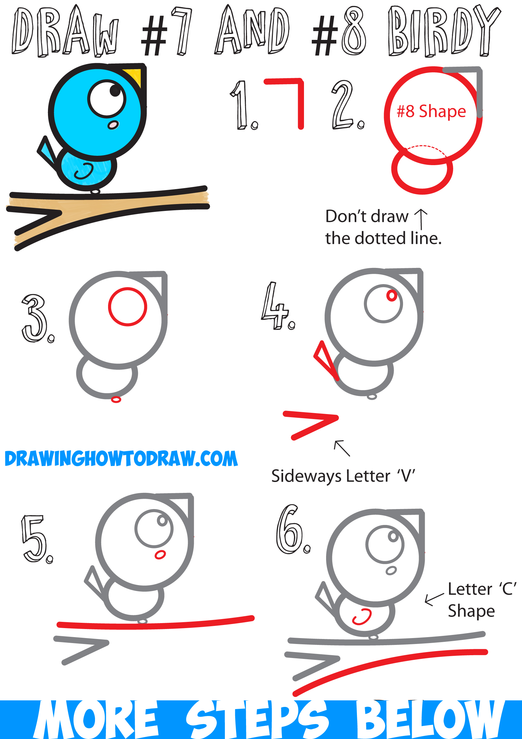 How to Draw a Cute Cartoon Bird on a Branch with Numbers Easy Step by Step Drawing Tutorial for Kids