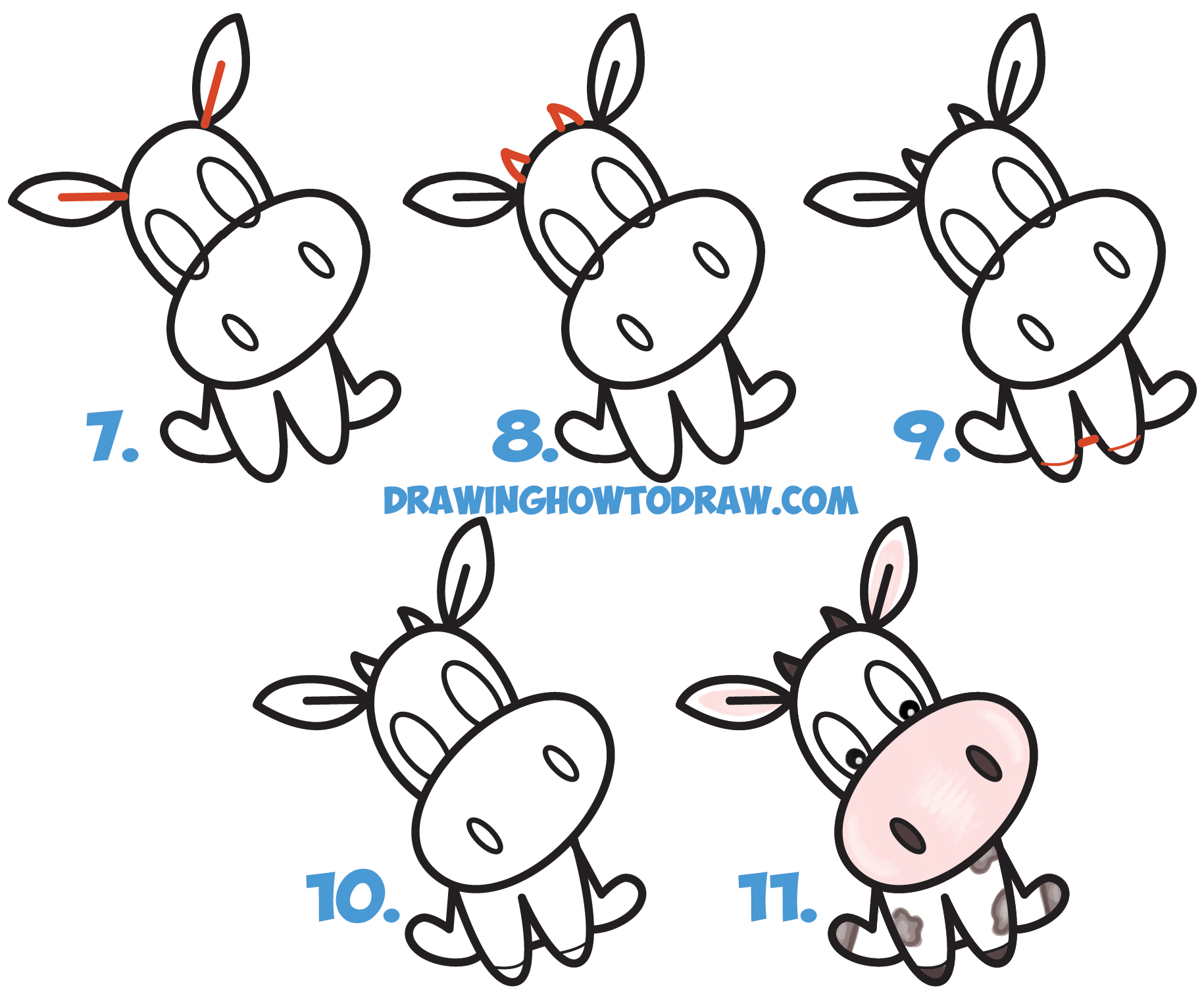 Learn How to Draw a Cute Cartoon Kawaii / Chibi Cow Word Toon Simple Steps Drawing Lesson for Beginners