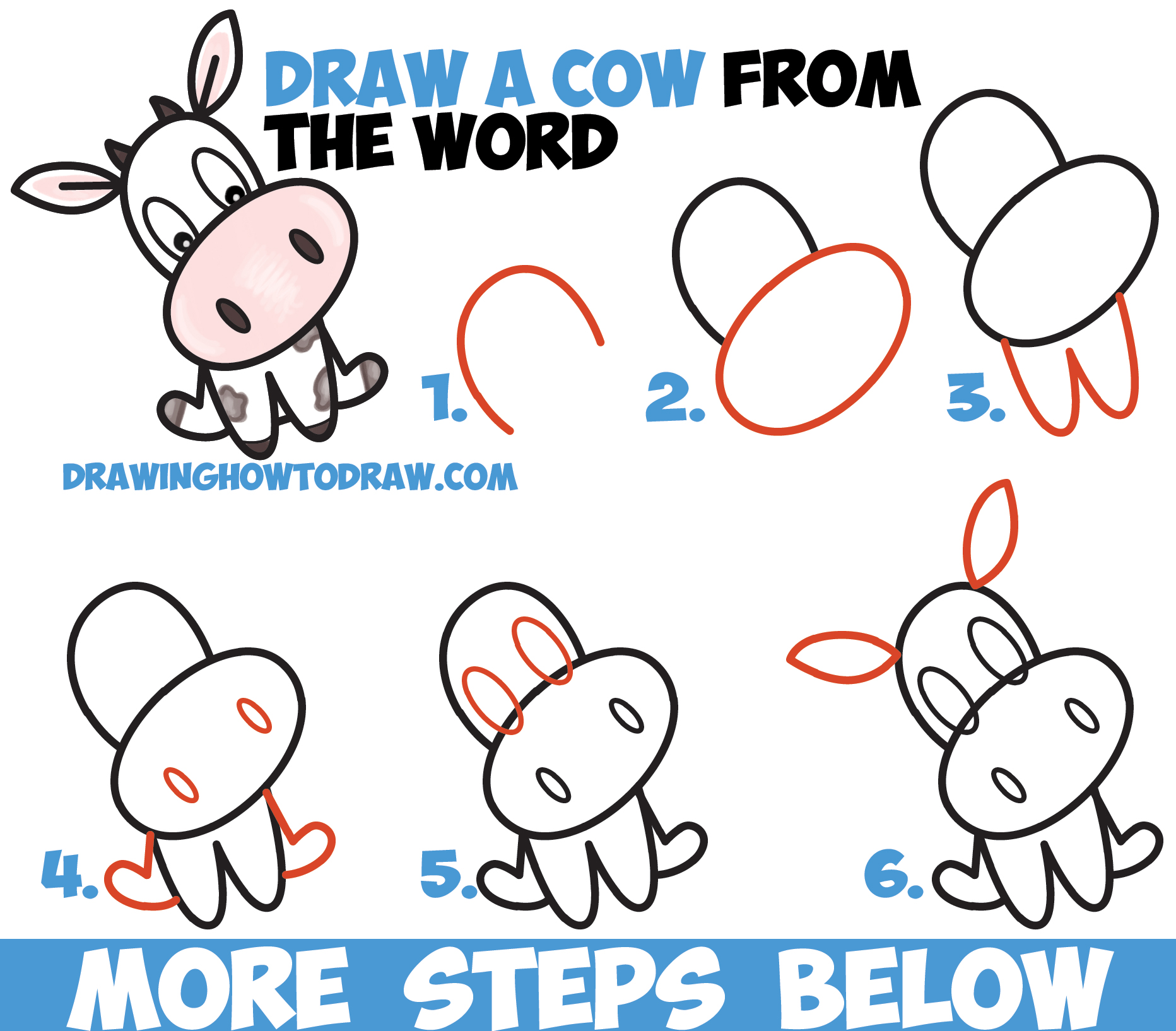 How To Draw A Cute Cartoon Kawaii Cow Word Toon Easy Step By Step