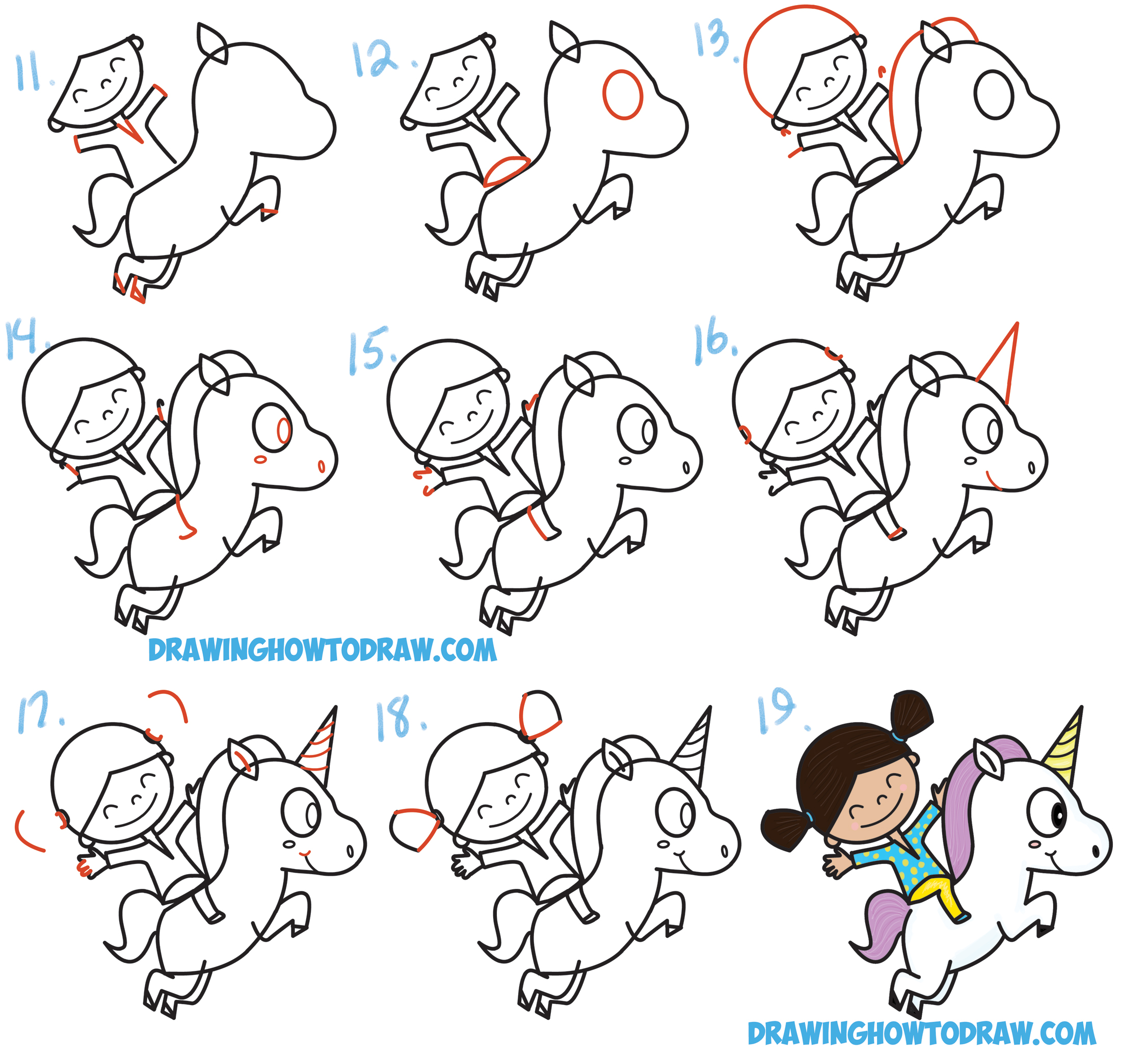 Learn How to Draw a Cute Kawaii / Chibi Girl Riding a Unicorn in Simple Steps Drawing Lesson for Children