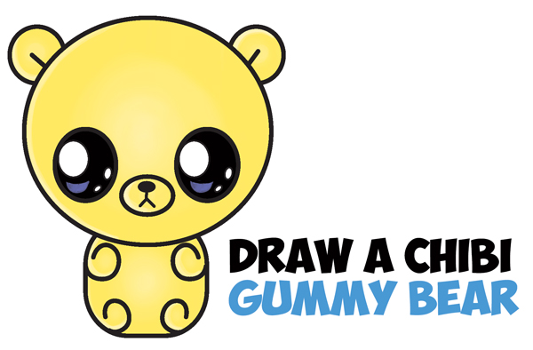 How to Draw a Cute Chibi / Kawaii / Cartoon Gummy Bear Easy Step by Step Drawing Tutorial for Kids
