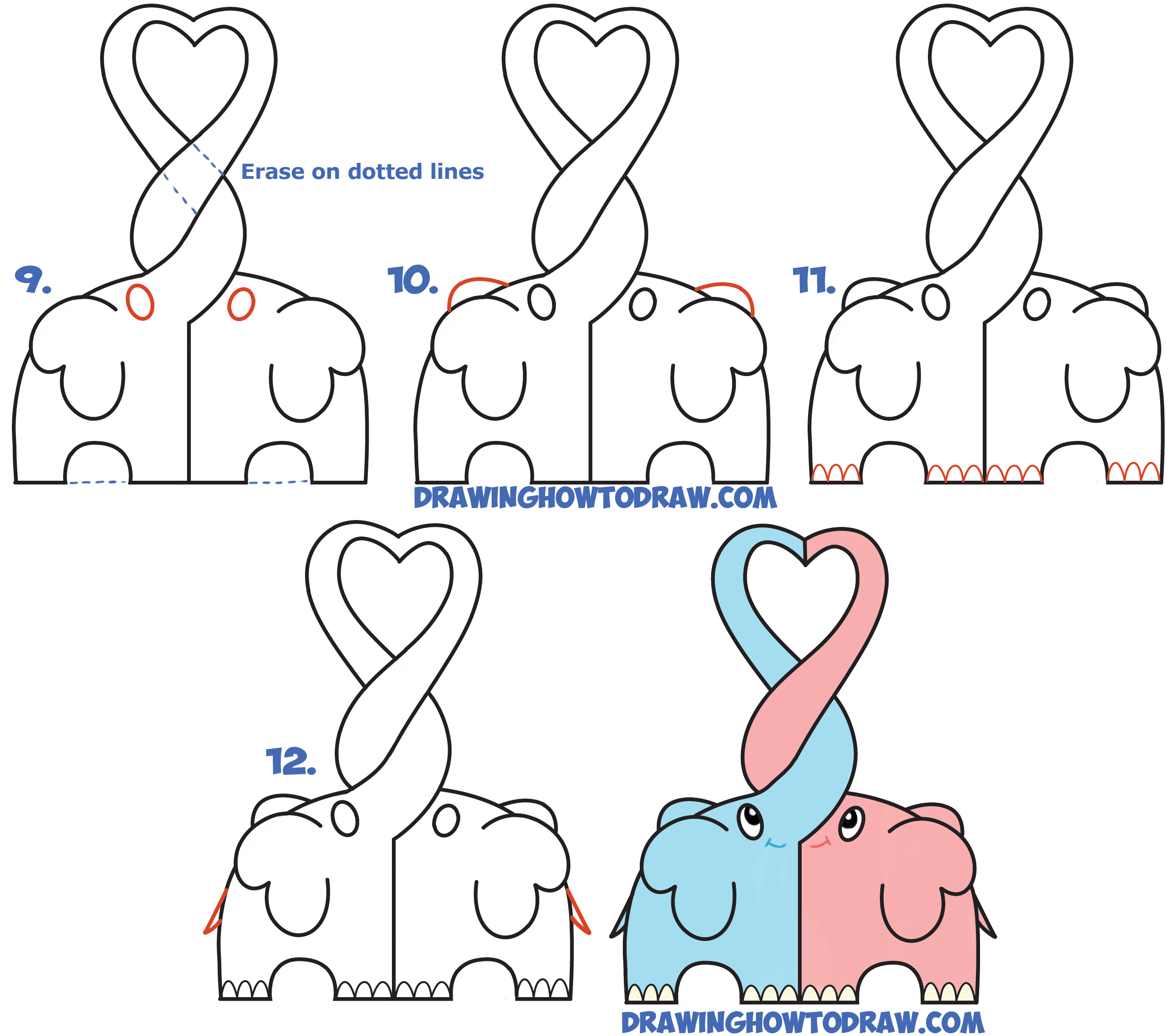 Learn How to Draw Cute Kawaii Chibi Elephants in Love Forming a Heart with Their Trunks - Easy Step by Step Drawing Lesson for Beginners