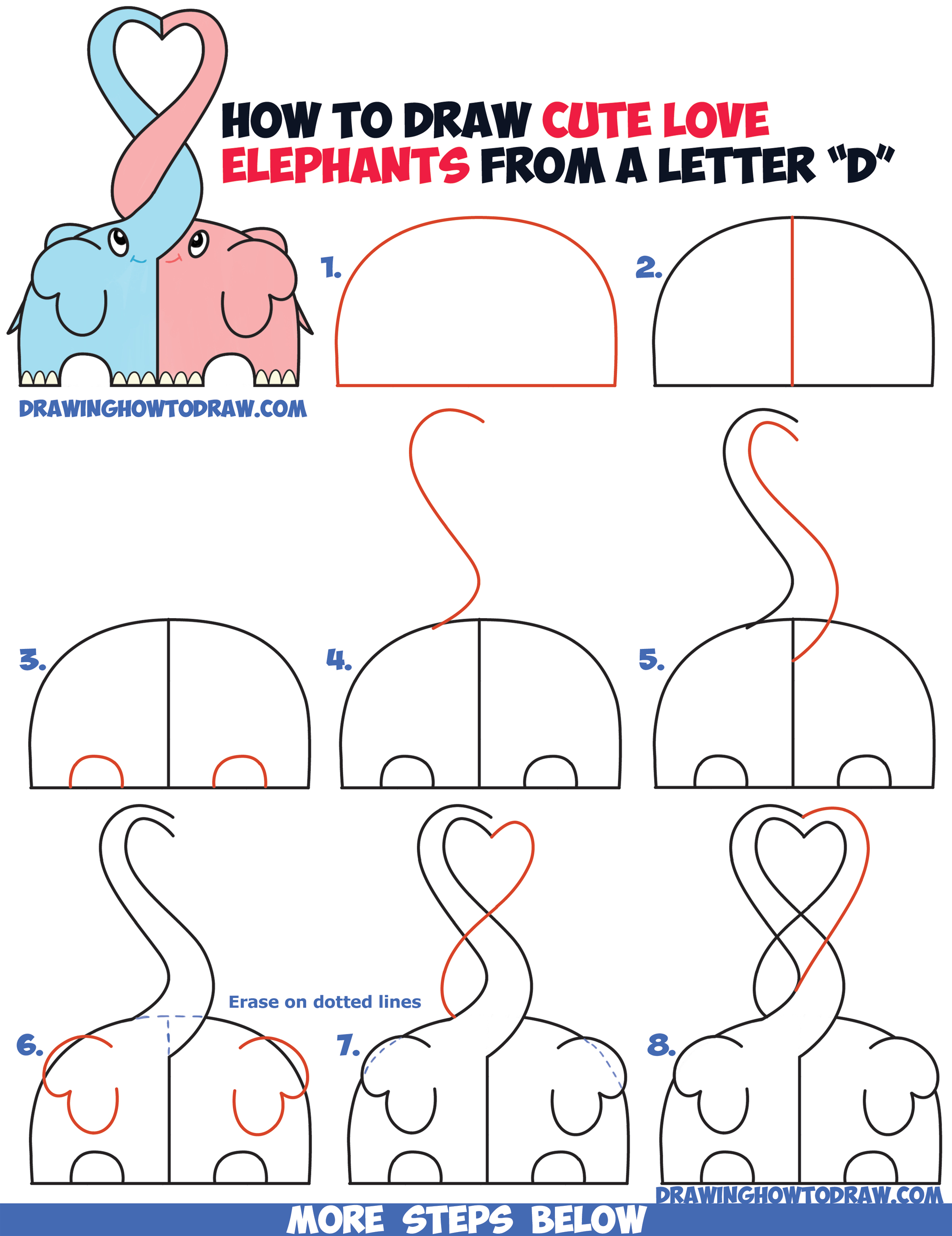 How to draw cute kawaii chibi elephants in love forming a for How to make cartoon drawings step by step