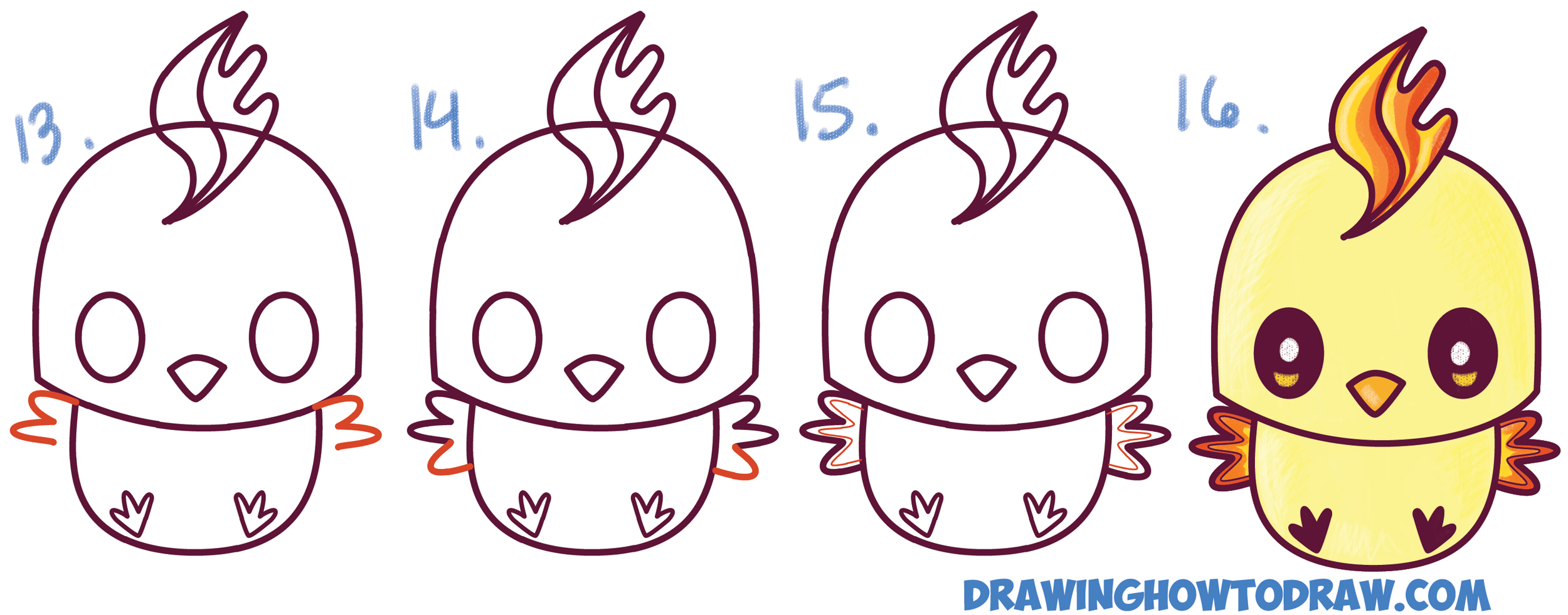 Learn How to Draw Cute / Kawaii / Chibi Moltres from Pokemon in Simple Steps Drawing Lesson for Children and Beginners