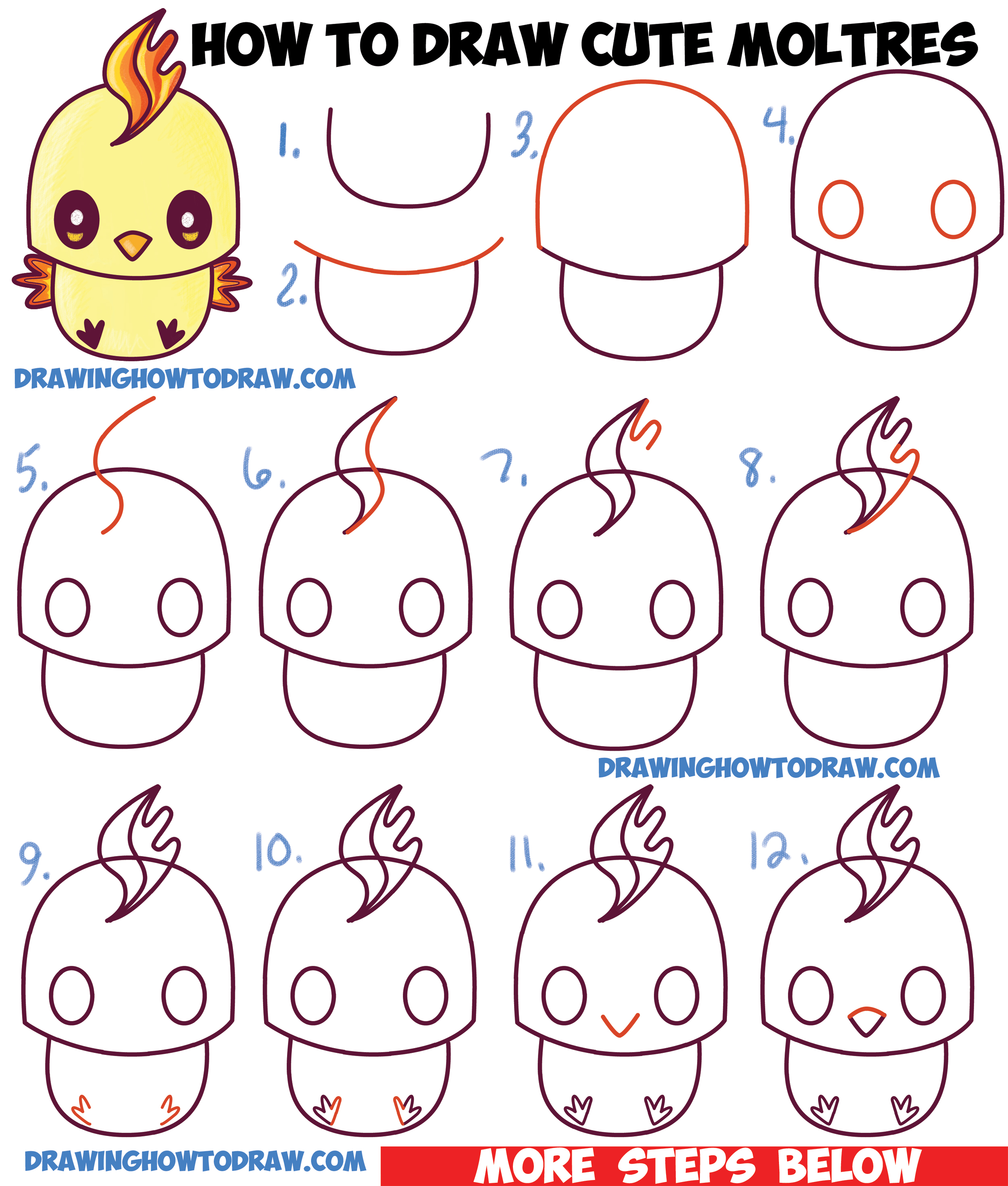 How To Draw Cute Kawaii Chibi Moltres From Pokemon In