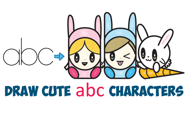 How to draw kawaii animals archives how to draw step by step how to draw cute kawaii chibi characters in bunny hats and a bunny from letters abc easy steps drawing lesson for kids ccuart Gallery
