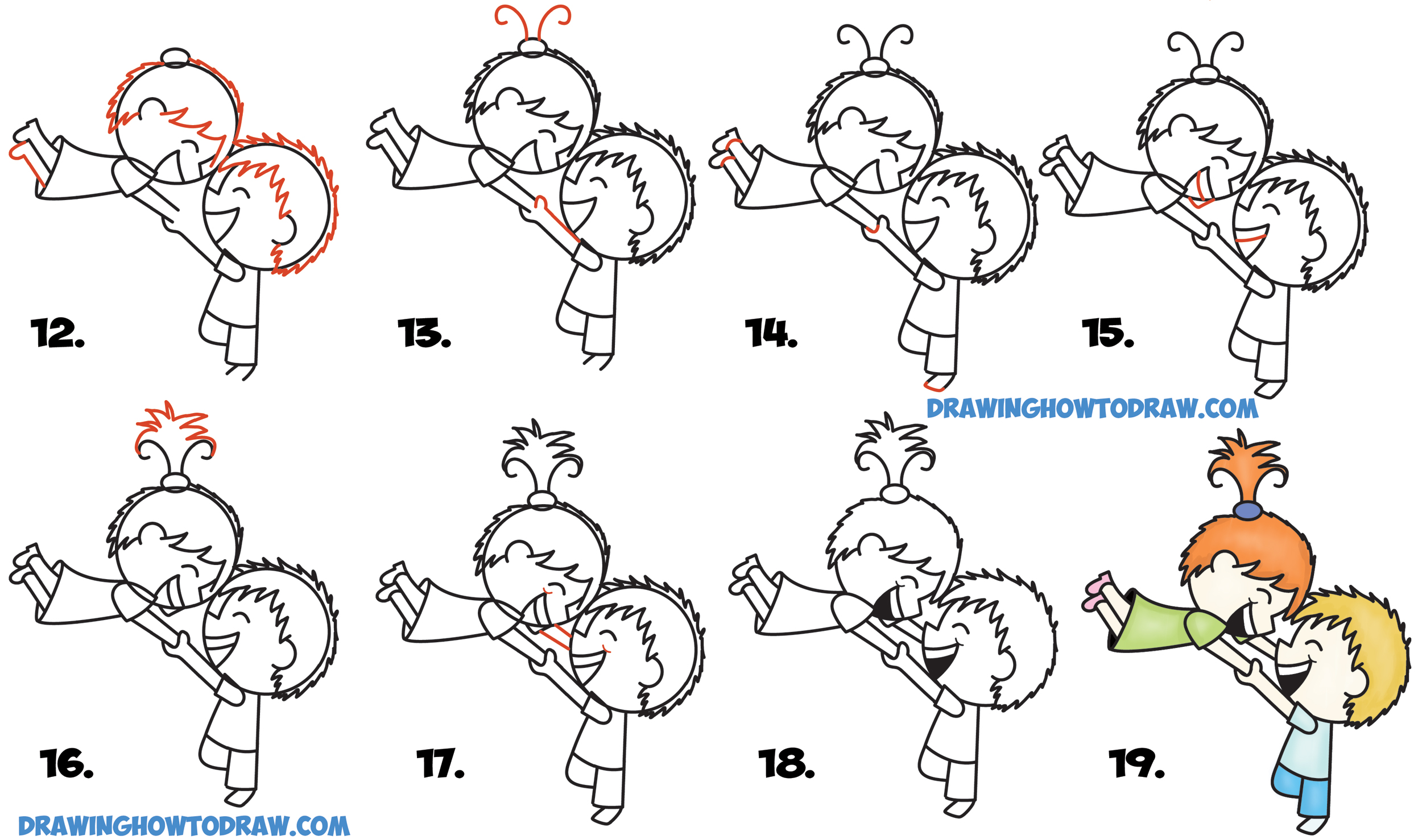 How To Draw A Cute Kawaii Chibi Couple In Love Spinning Each Other