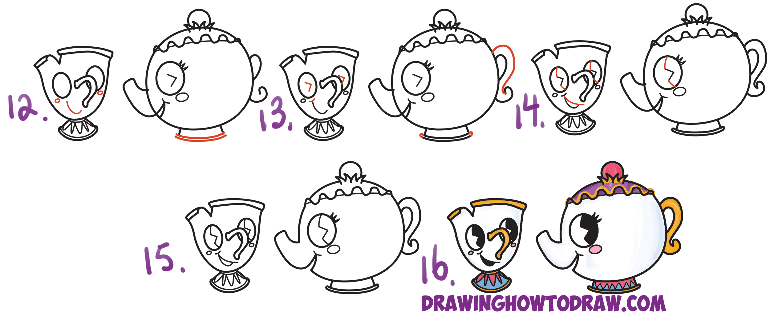 Learn How to Draw Cute Kawaii / Chibi Mrs. Potts and Chip from Beauty and the Beast Simple Steps Drawing Lesson for Children and Beginners
