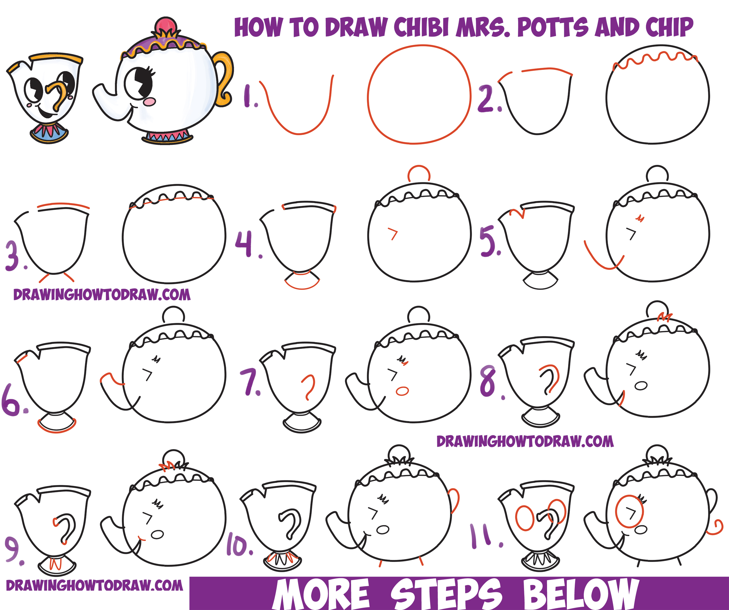 How To Draw Cute Kawaii Chibi Mrs Potts And Chip From Beauty The