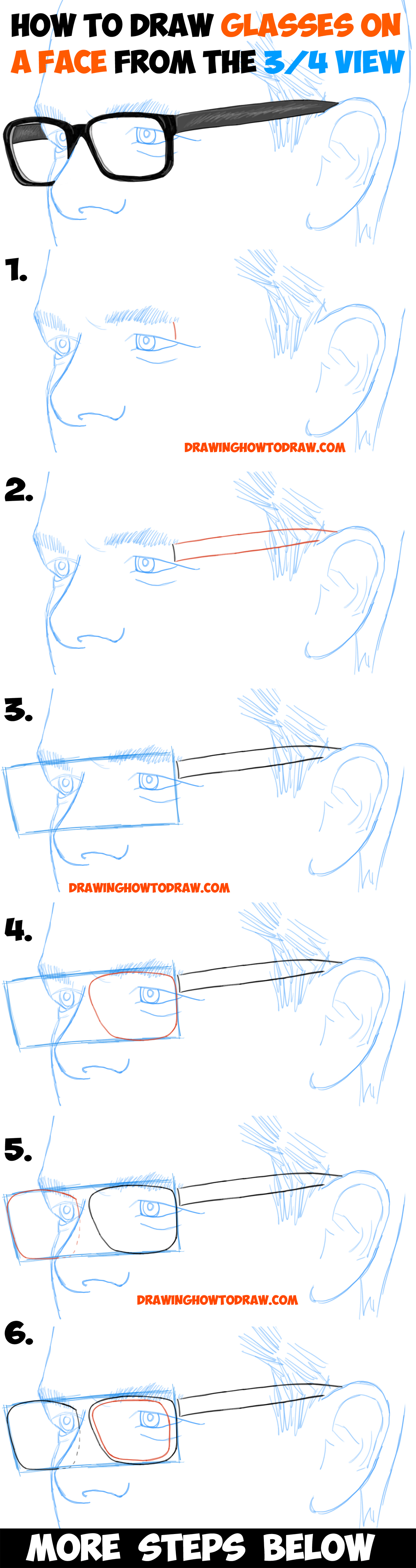 Learn How to Draw Glasses on a Man's Face from the 3/4 View (Three Quarters Angle)