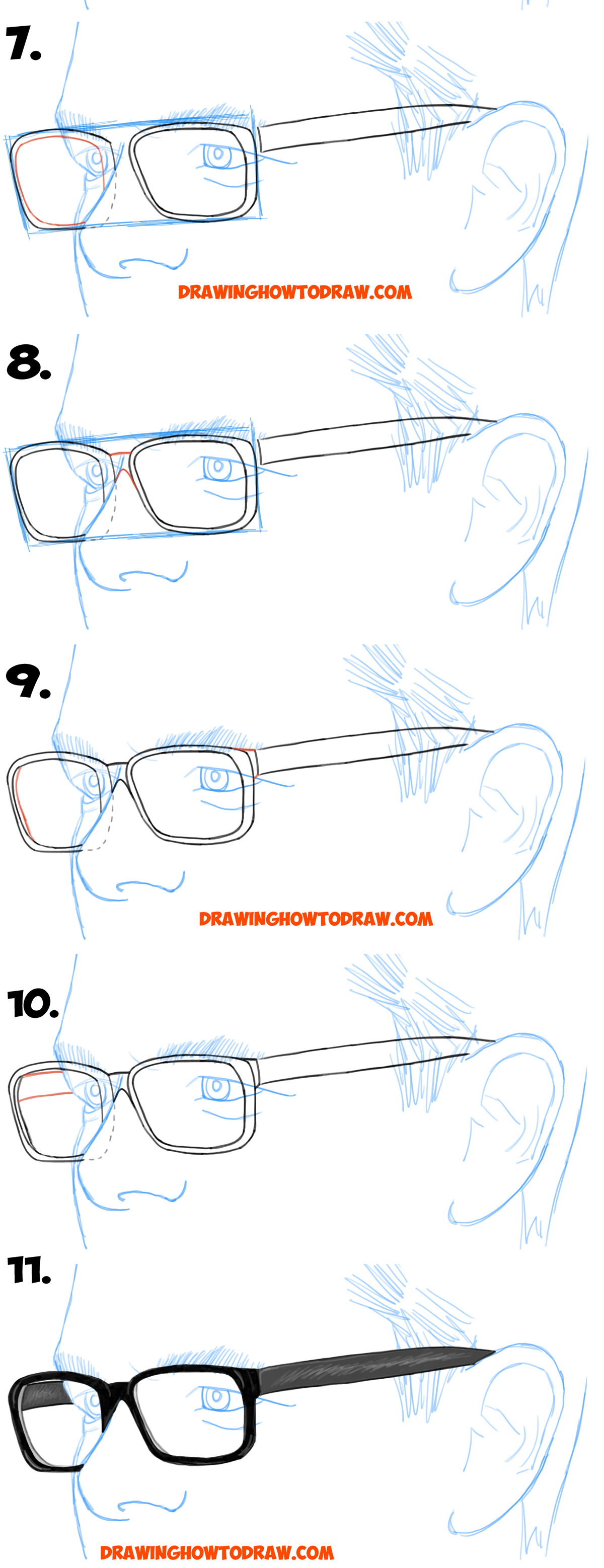 Learn How To Draw Glasses On A Mans Face From The 3 4 View