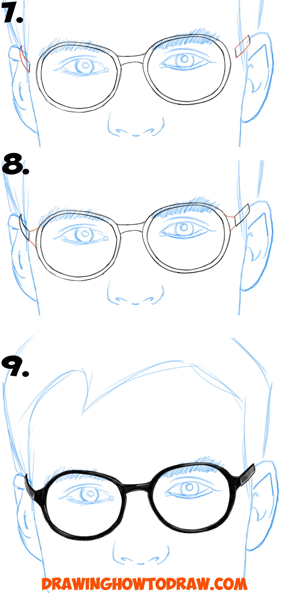Scribble Drawing Tutorial : How to draw glasses on a person s face from all angles