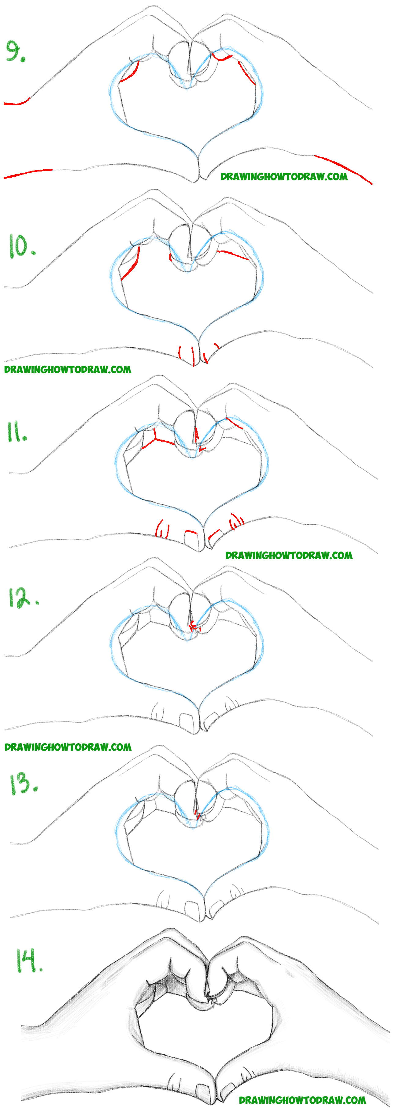 How to Draw Heart Hands in Easy to Follow Step by Step ...