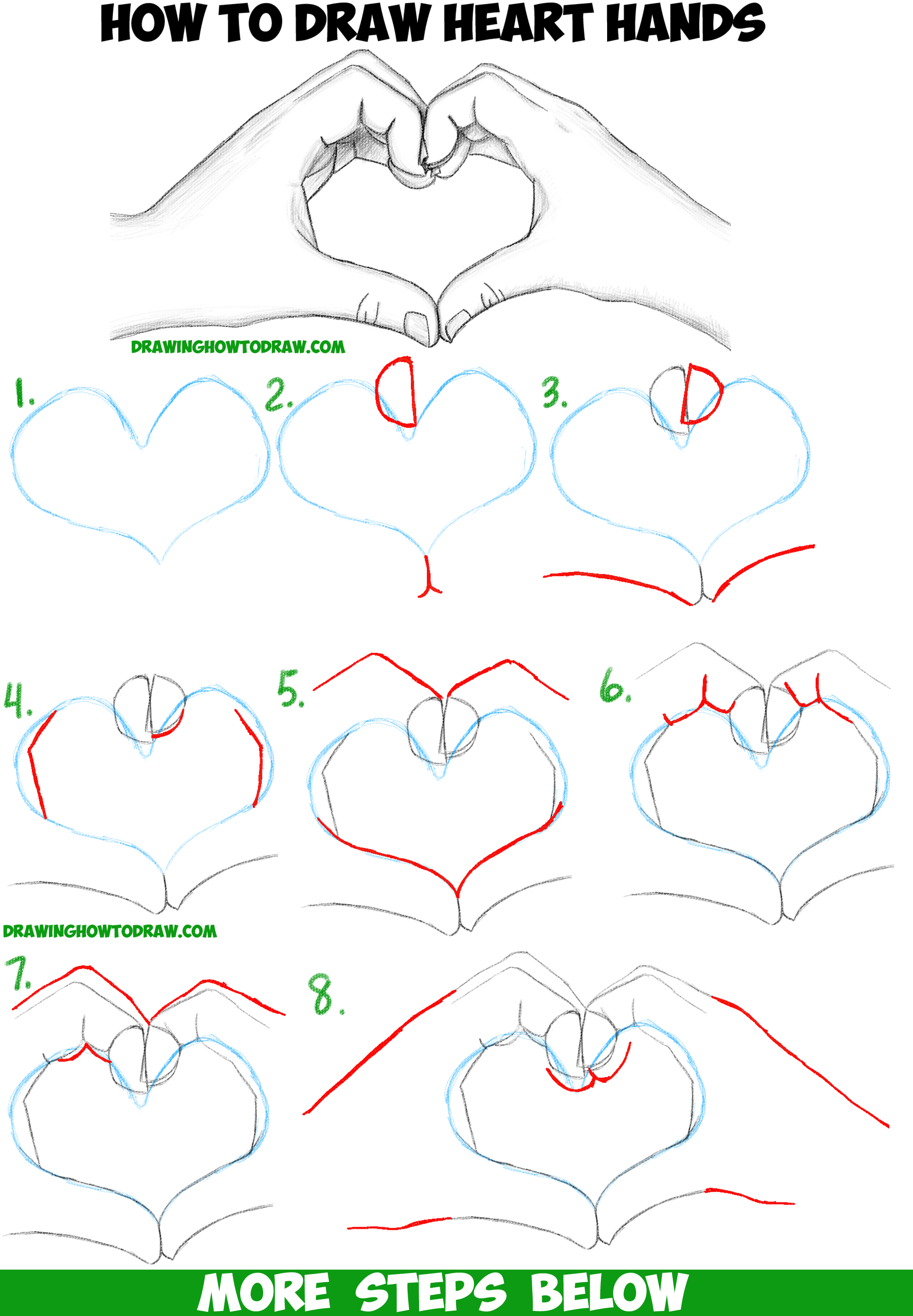 How to draw heart hands in easy to follow step by step for Easy drawing websites