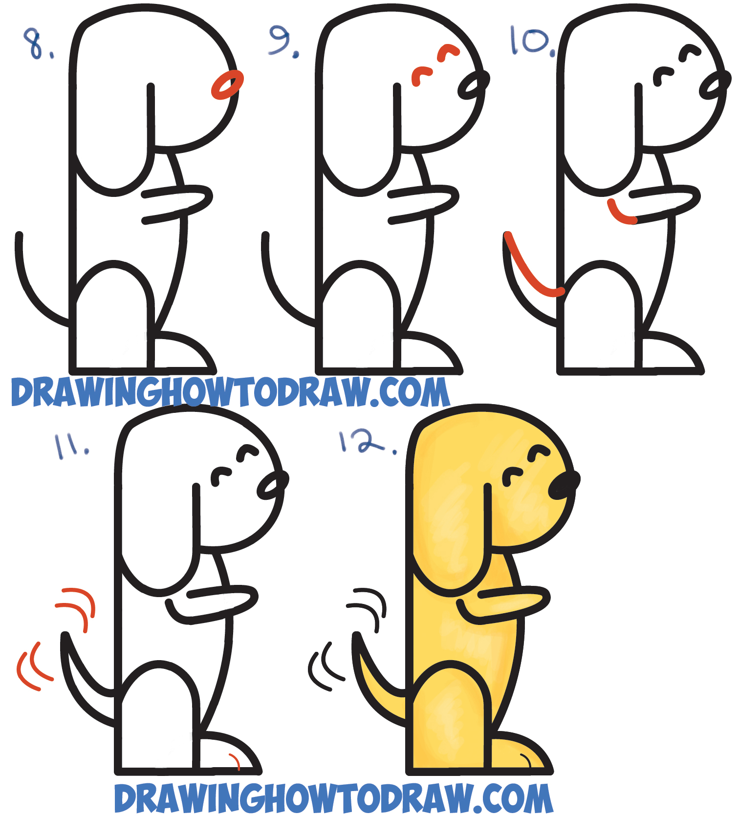 how to draw a cartoon dog begging from 2 letter h shapes