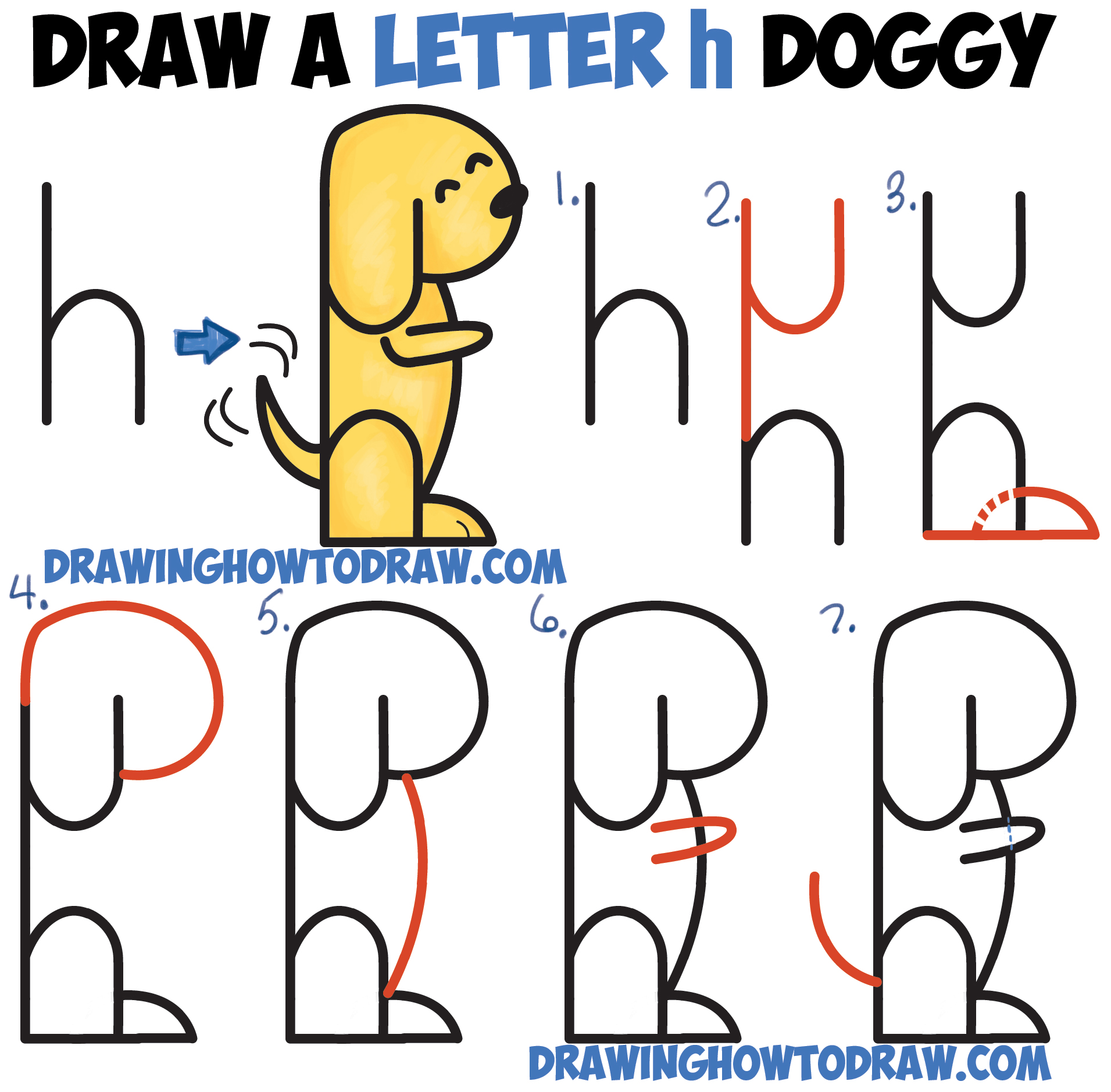 how to draw a cartoon dog begging from 2 letter h shapes easy step