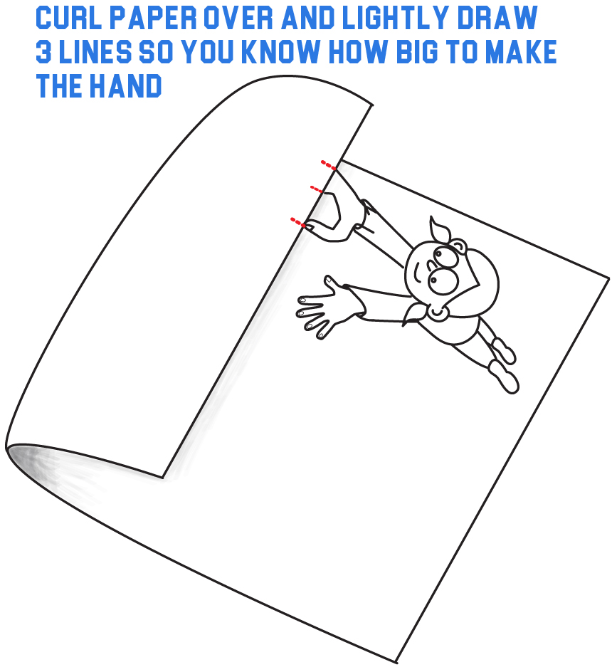 Step 2 B: Draw Lines to Make Sure the Two Parts of the Picture Match Up Later