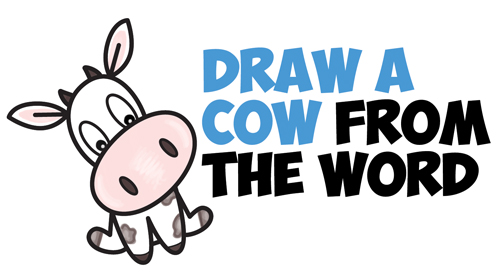 How to Draw a Cute Cartoon Kawaii / Chibi Cow Word Toon Easy Step by Step Drawing Tutorial for Kids