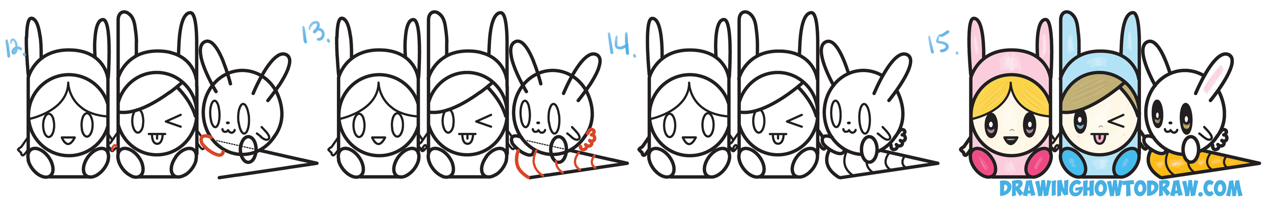 "Learn How to Draw Cute Kawaii / Chibi Characters in Bunny Hats and a Bunny from Letters ""abc"" Simple Step by Step Drawing Tutorial for Children"