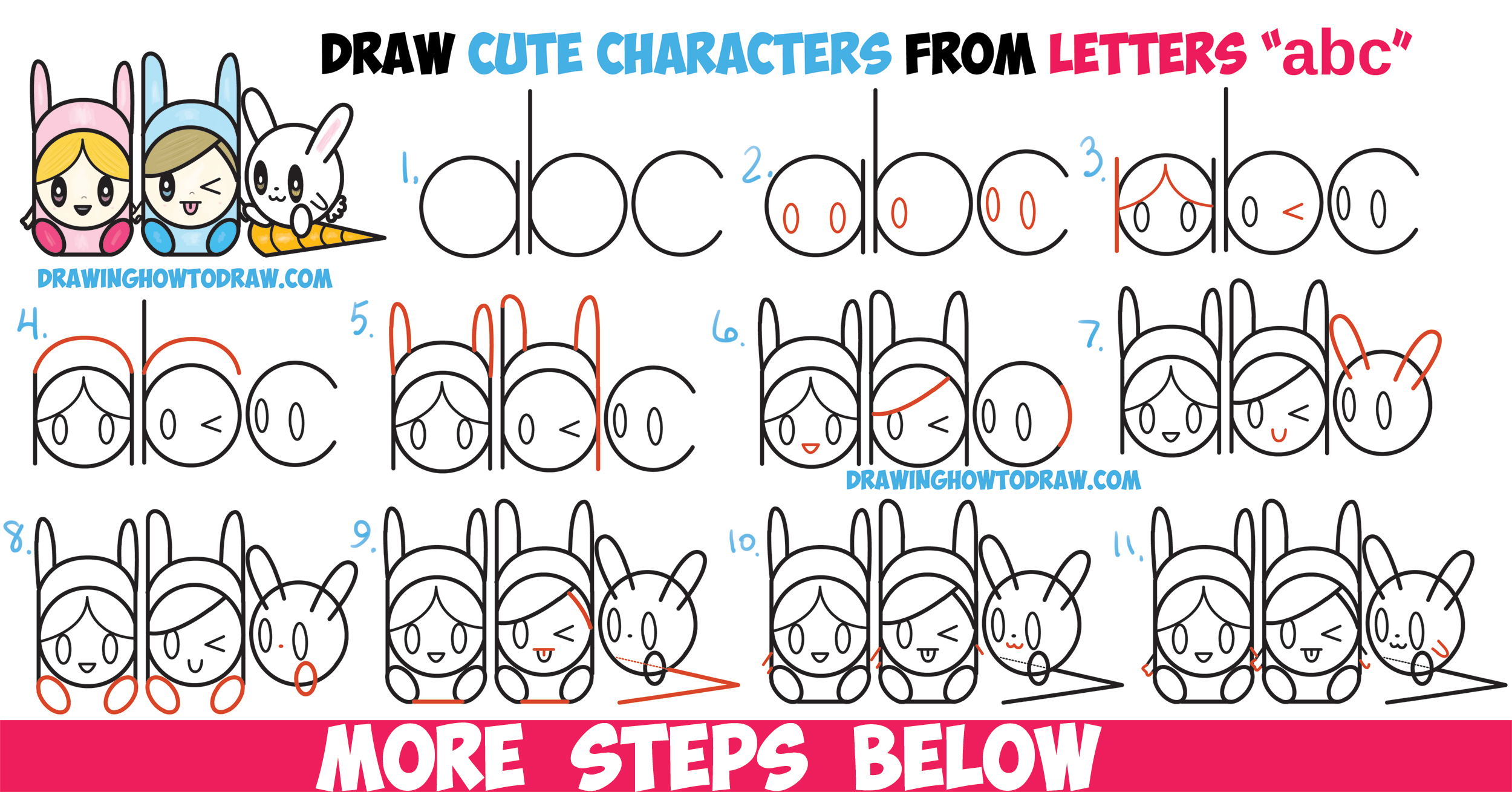 "How to Draw Cute Kawaii / Chibi Characters in Bunny Hats and a Bunny from Letters ""abc"" Easy Steps Drawing Lesson for Kids"