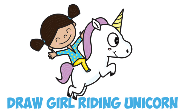 How to Draw a Cute Kawaii / Chibi Girl Riding a Unicorn in Easy Step by Step Drawing Tutorial for Kids and Beginners