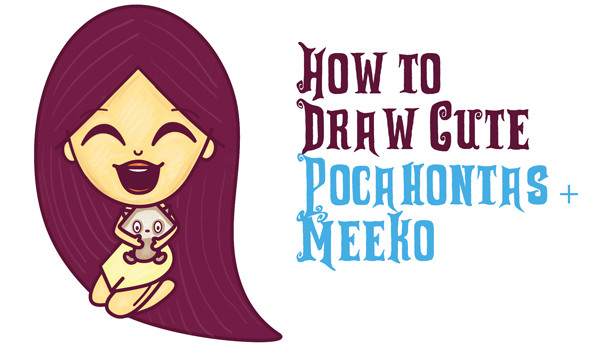 How to Draw a Cute Kawaii / Chibi Pocahontas and Meeko Easy Step by Step Drawing Tutorial for Kids and Beginners