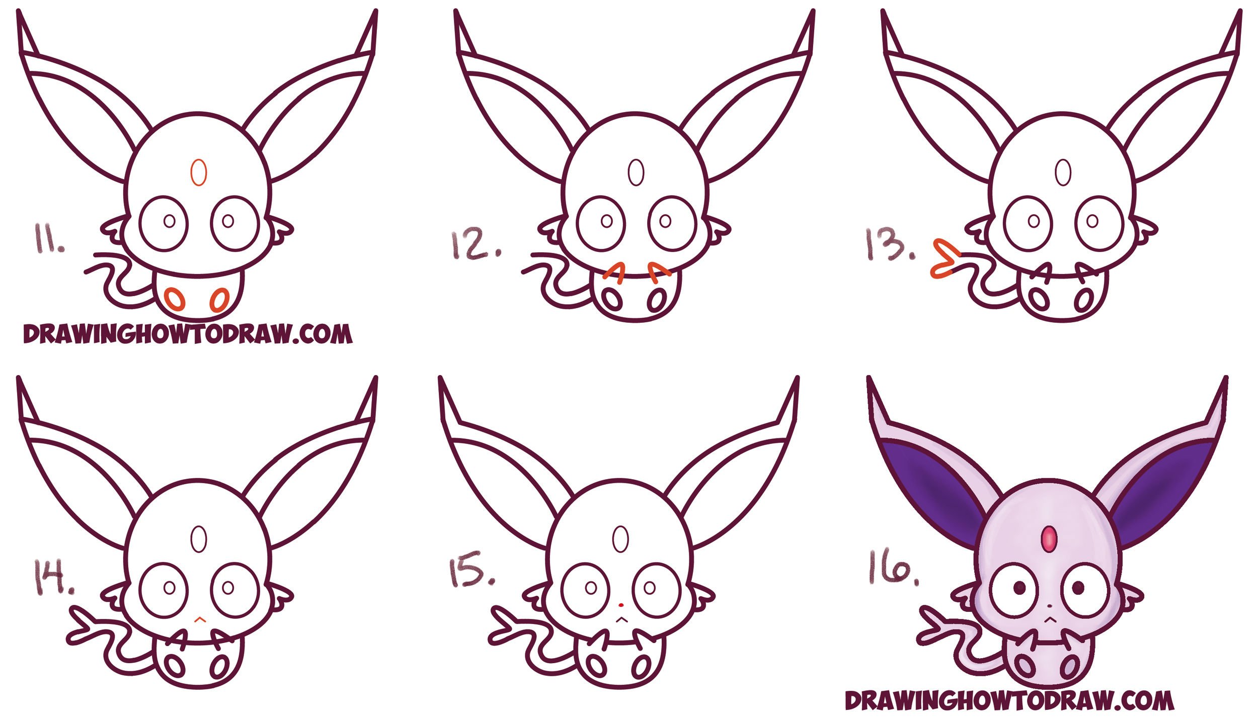 Learn How to Draw Cute Kawaii / Chibi Espeon from Pokemon Simple Steps Drawing Lesson for Beginners