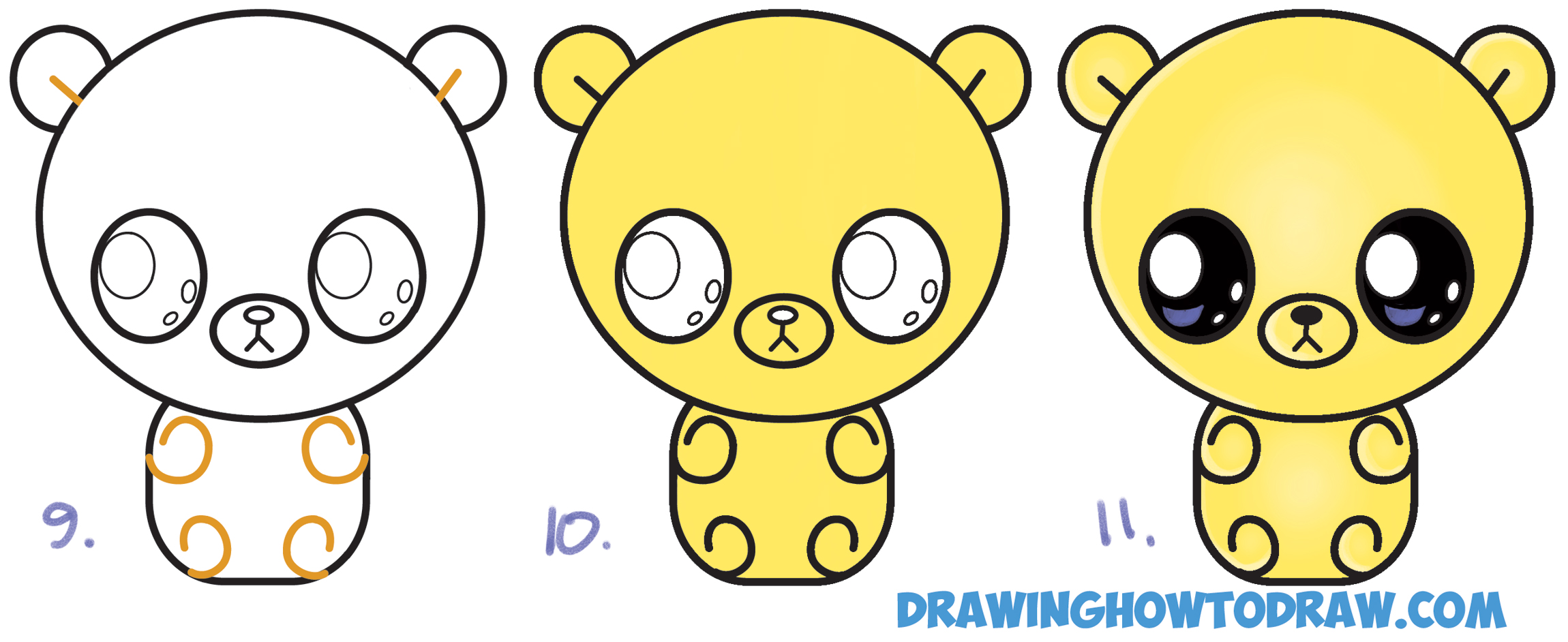 Learn How to Draw a Cute Chibi / Kawaii / Cartoon Gummy Bear Simple Steps Drawing Lesson for Beginners and Children