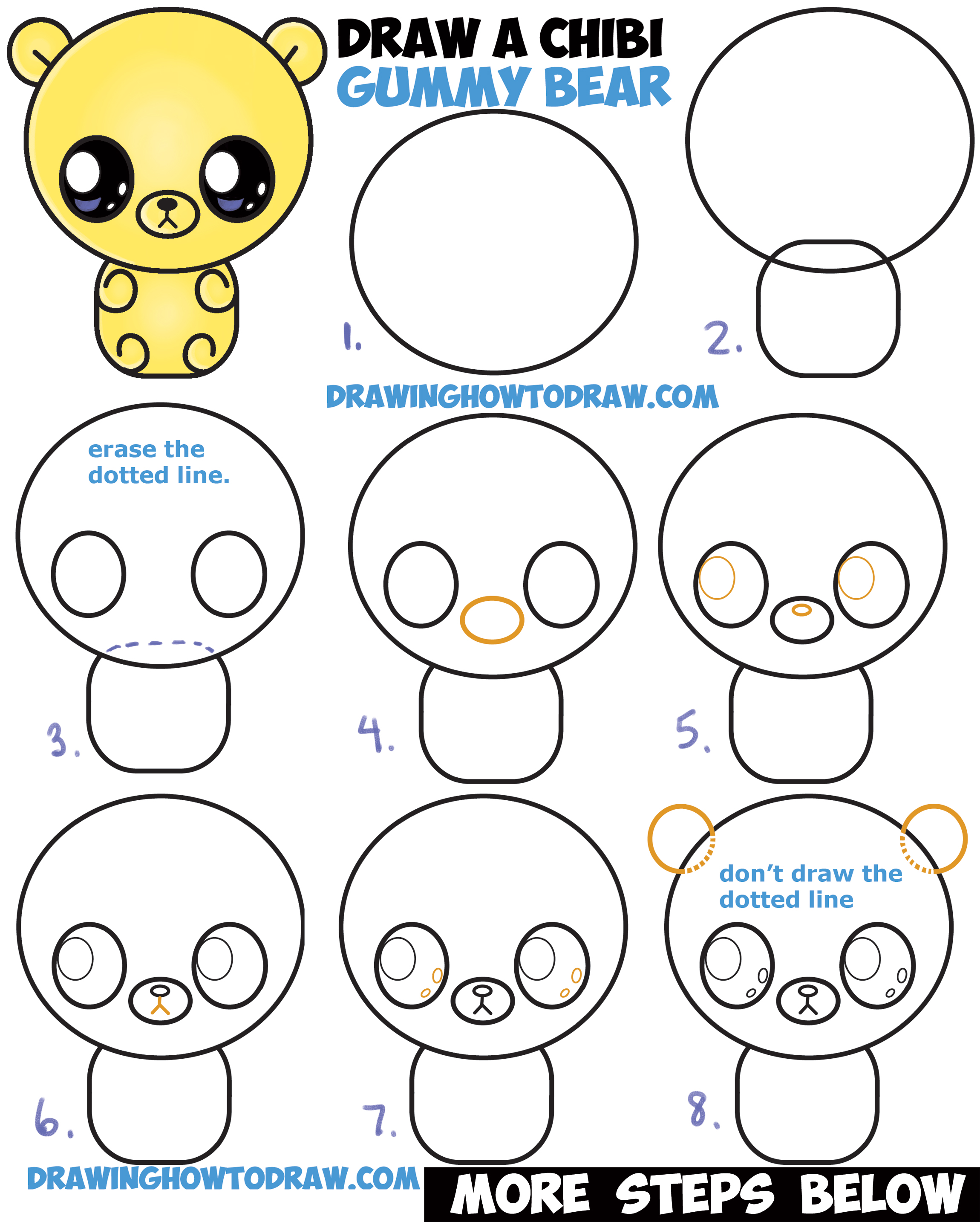 how to draw a cute chibi kawaii cartoon gummy bear easy step by step