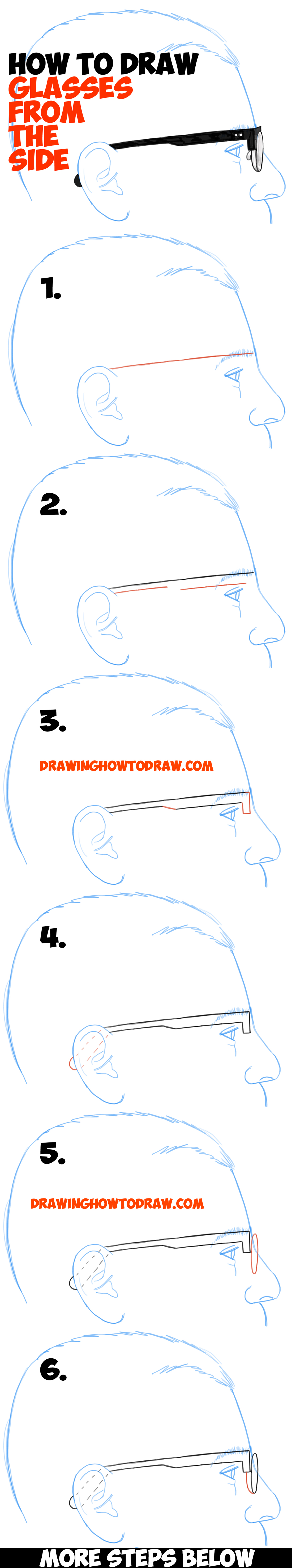 How To Draw Glasses On A Person's Face From The Side Angle View (profile)
