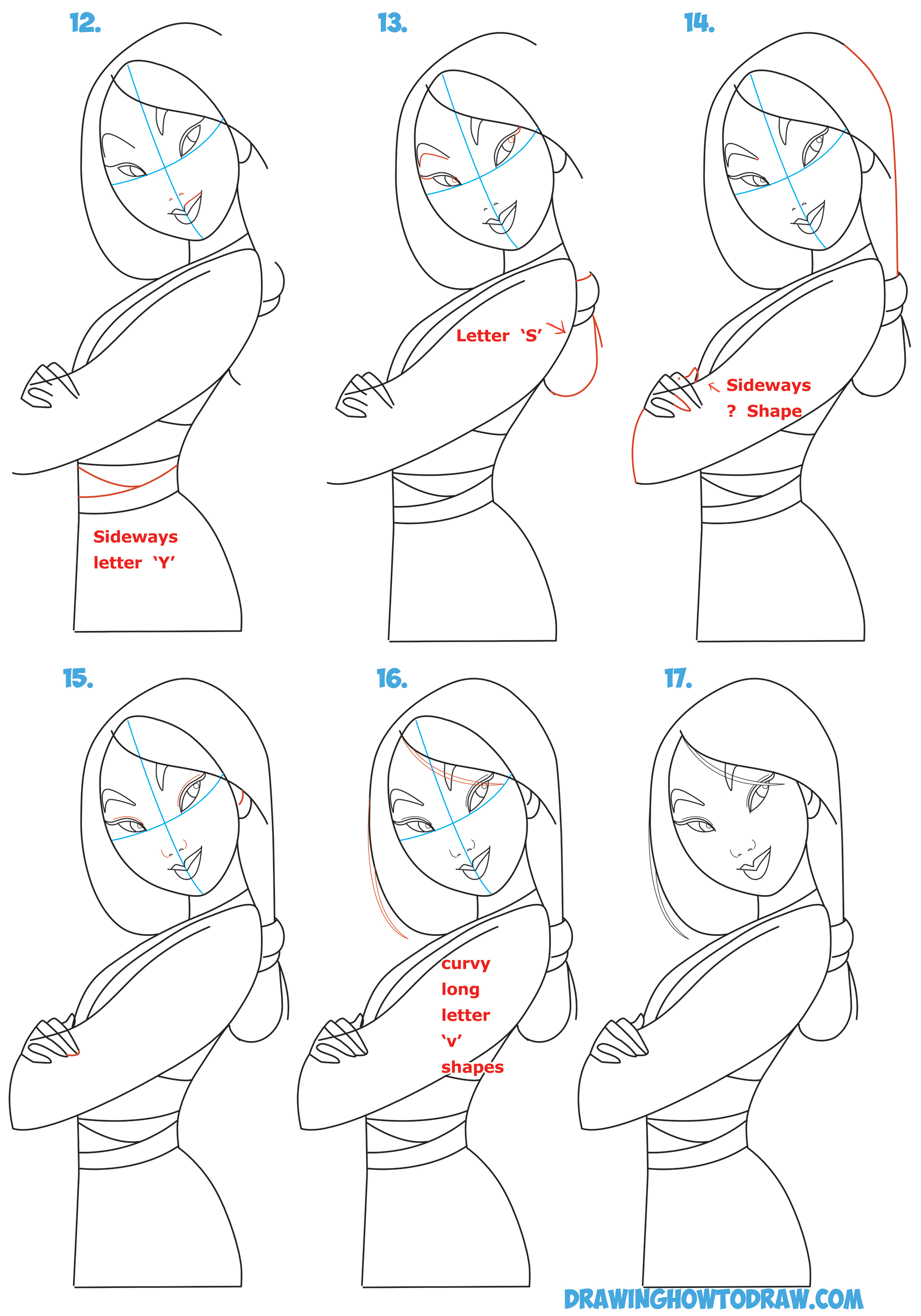 How to Draw Mulan as a Princess Easy Step by Step Drawing ...