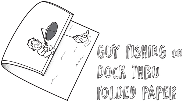 How to Draw Cartoon Boy Fishing on Dock - Optical Illusion with Folded Over Paper - Easy Step by Step Drawing Tutorial for Kids