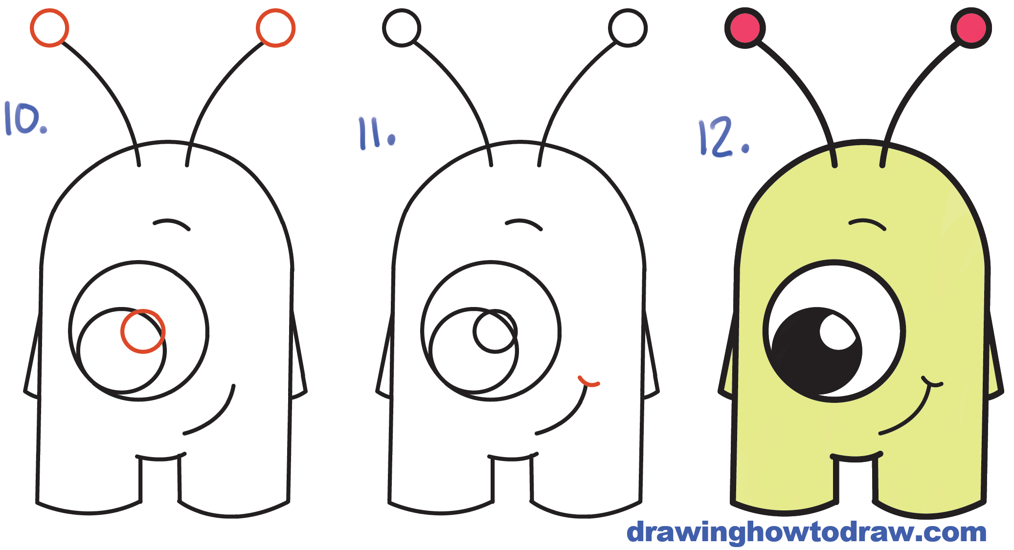 "Learn How to Draw Cute Cartoon Alien from Numbers ""16"" Simple Steps Drawing Lesson for Children"