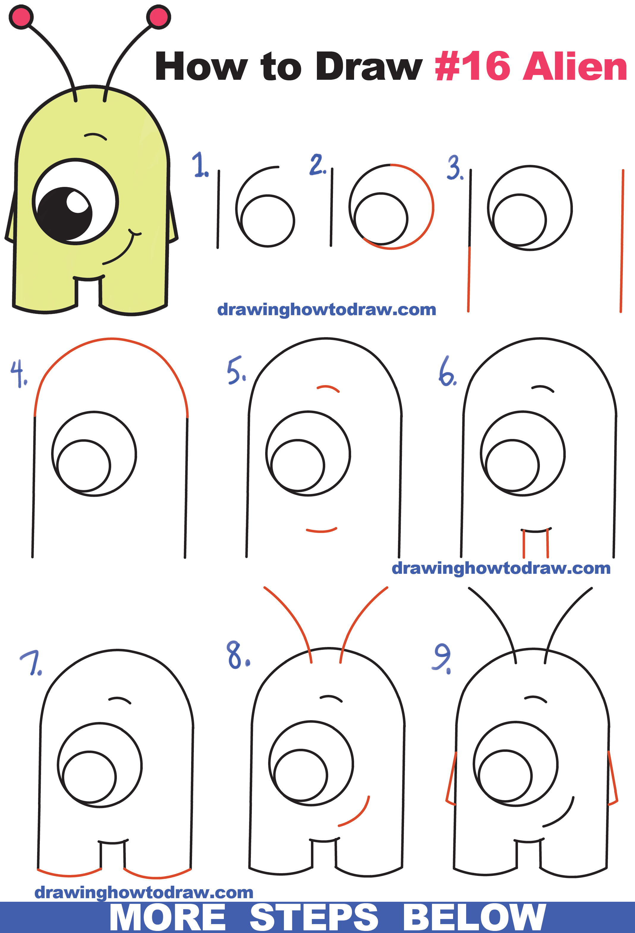 how to draw cute cartoon alien from numbers 16 easy step by step drawing