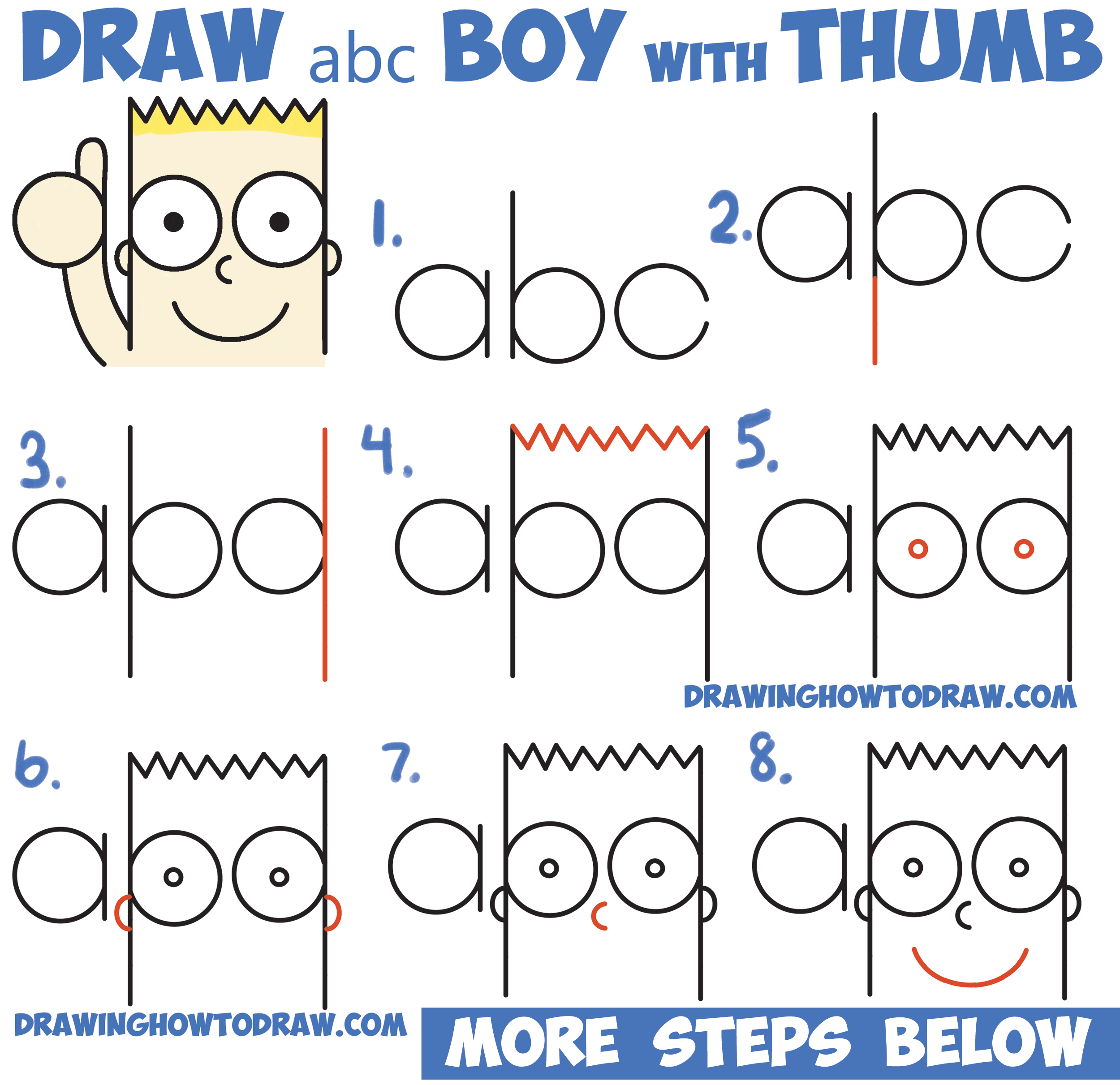 "How to Draw Cute Cartoon Boy / Kid With Thumb Up from ""abc"" with Easy Step by Step Drawing Tutorial for Kids"