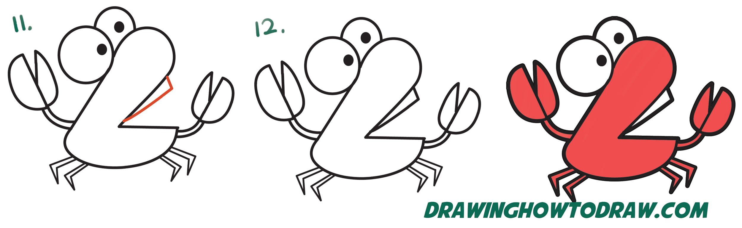 "Learn How to Draw Cartoon Crab from Numbers ""92"" Simple Steps Drawing Lesson for Children and Beginners"