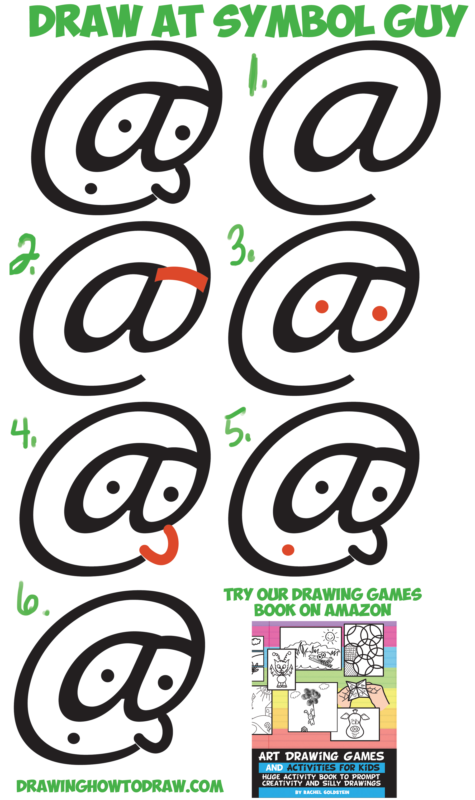 How to Draw Cartoon Guy's Face from At Symbol Easy Step by Step Drawing Tutorial for Kids